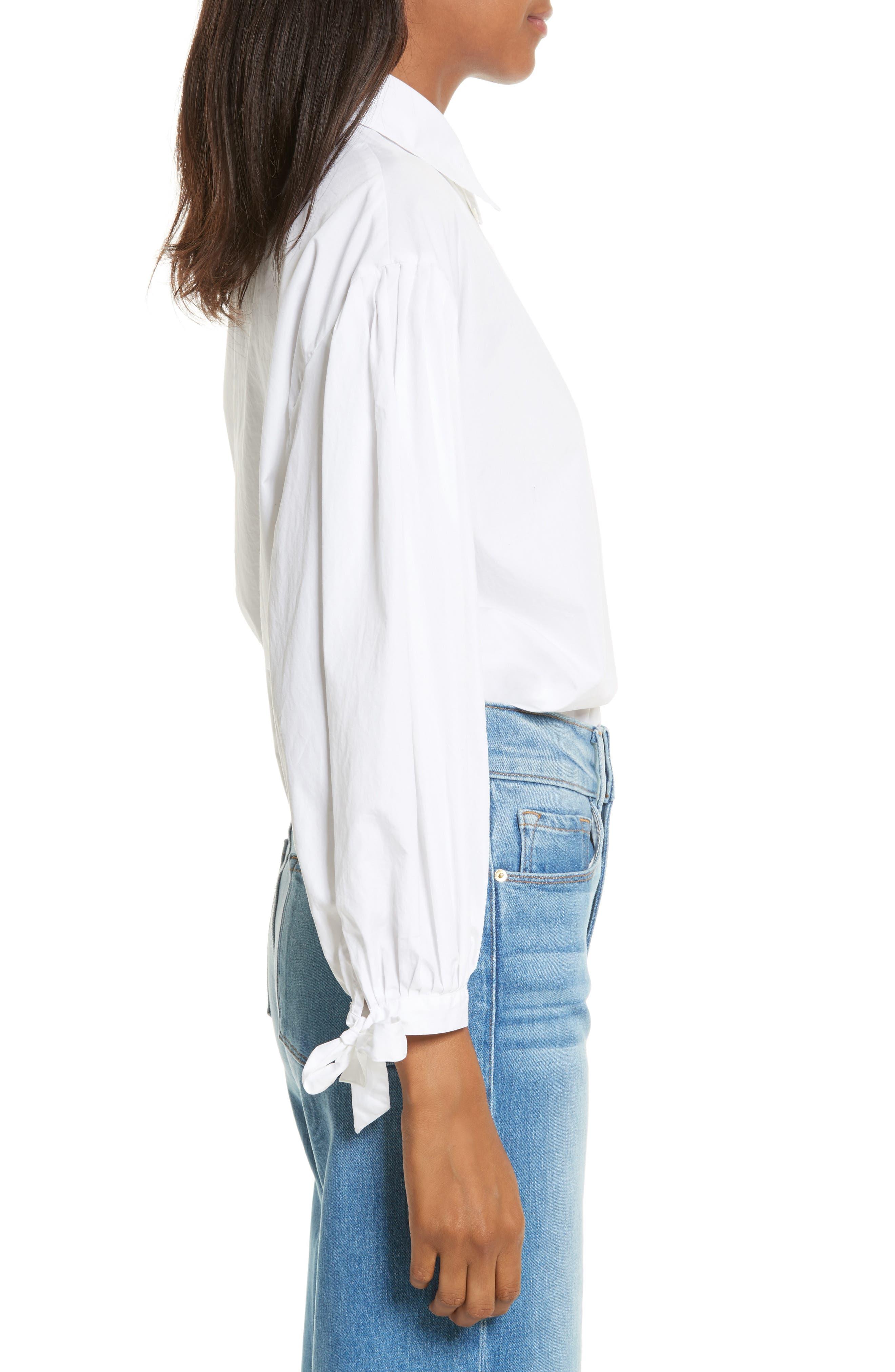 Tie Cuff Cotton Shirt,                             Alternate thumbnail 3, color,                             Blanc