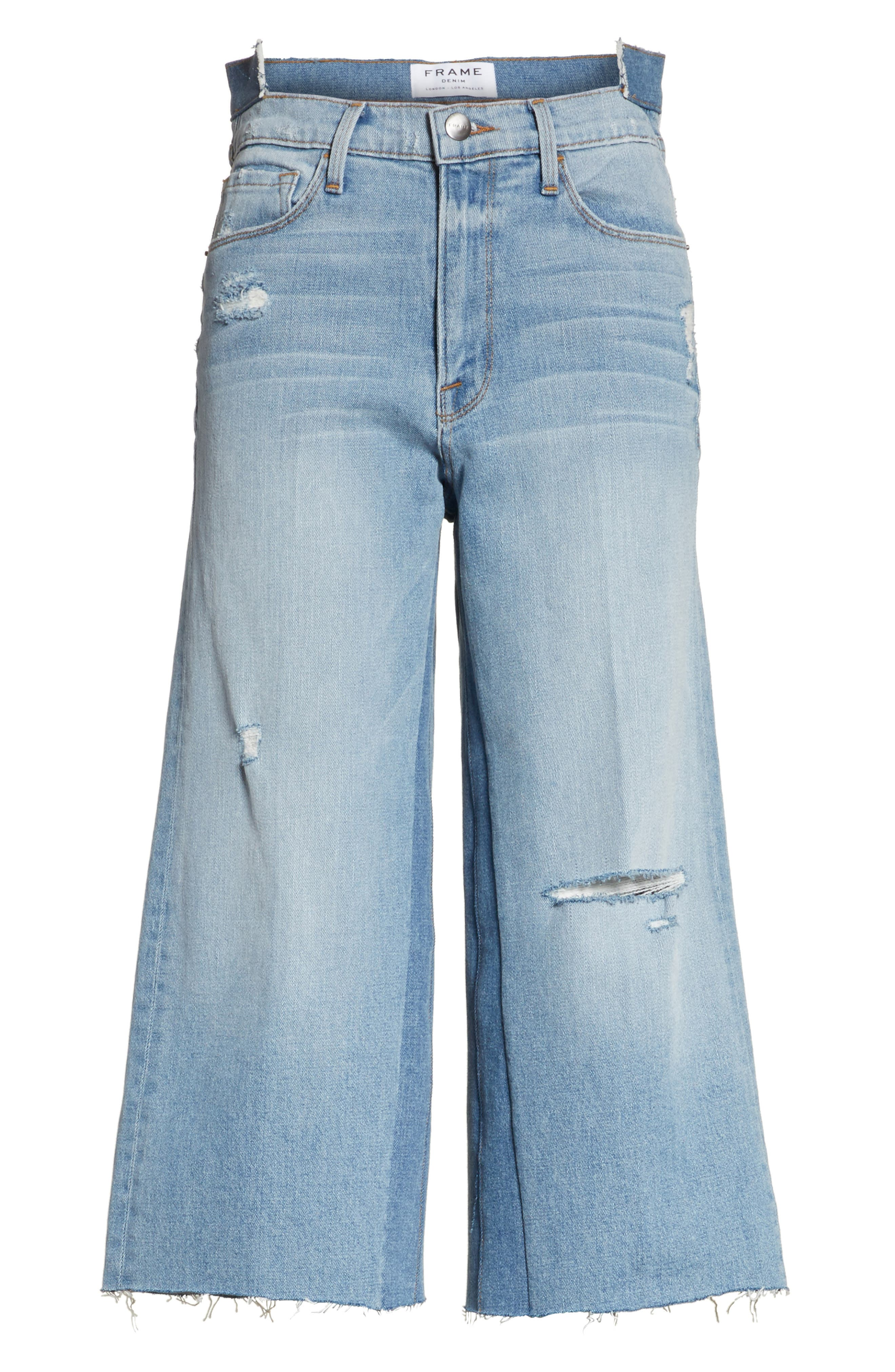 Le Reconstructed High Waist Crop Wide Leg Jeans,                             Alternate thumbnail 7, color,                             Blue