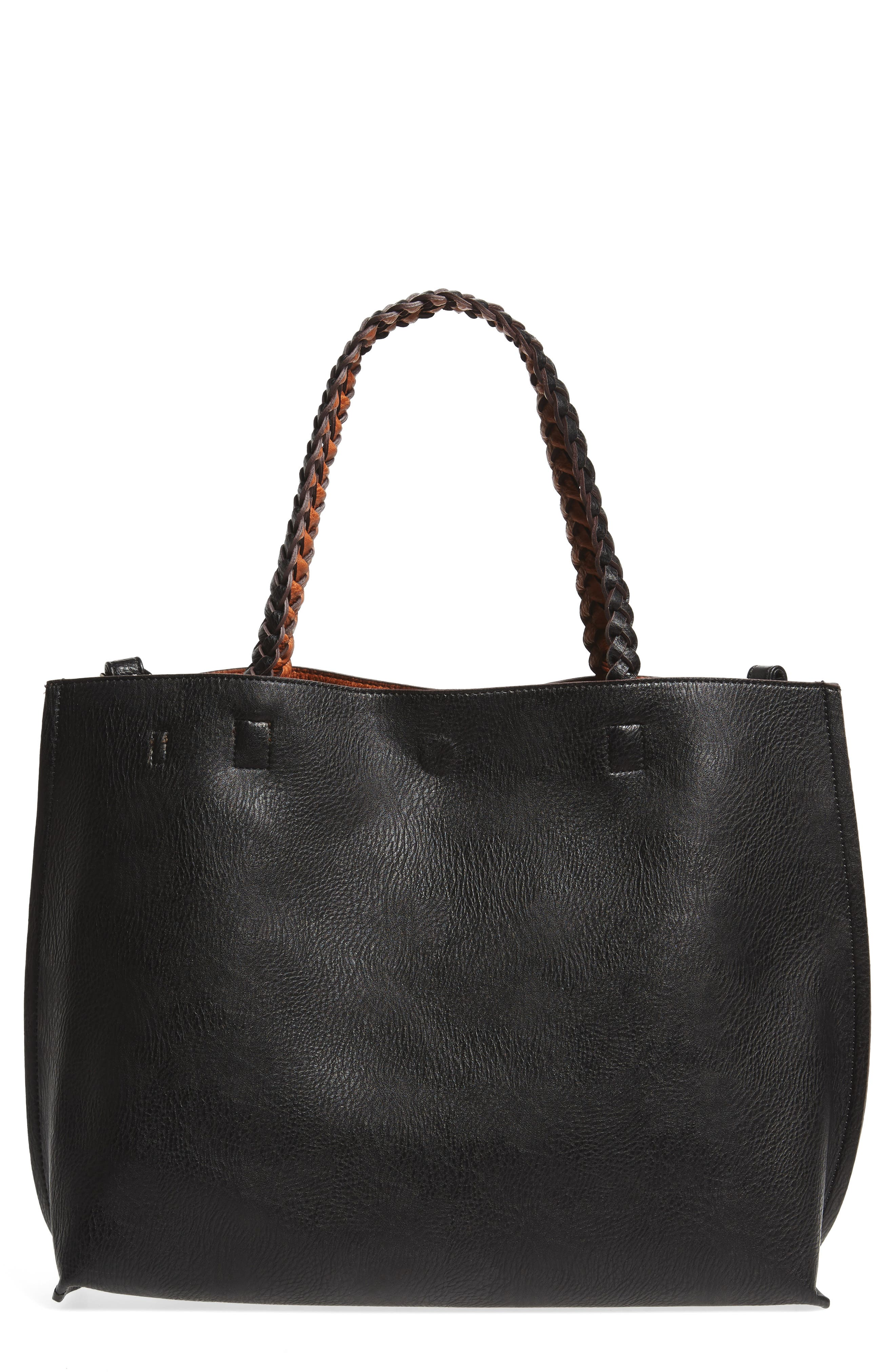 Reversible Faux Leather Tote,                         Main,                         color, Black
