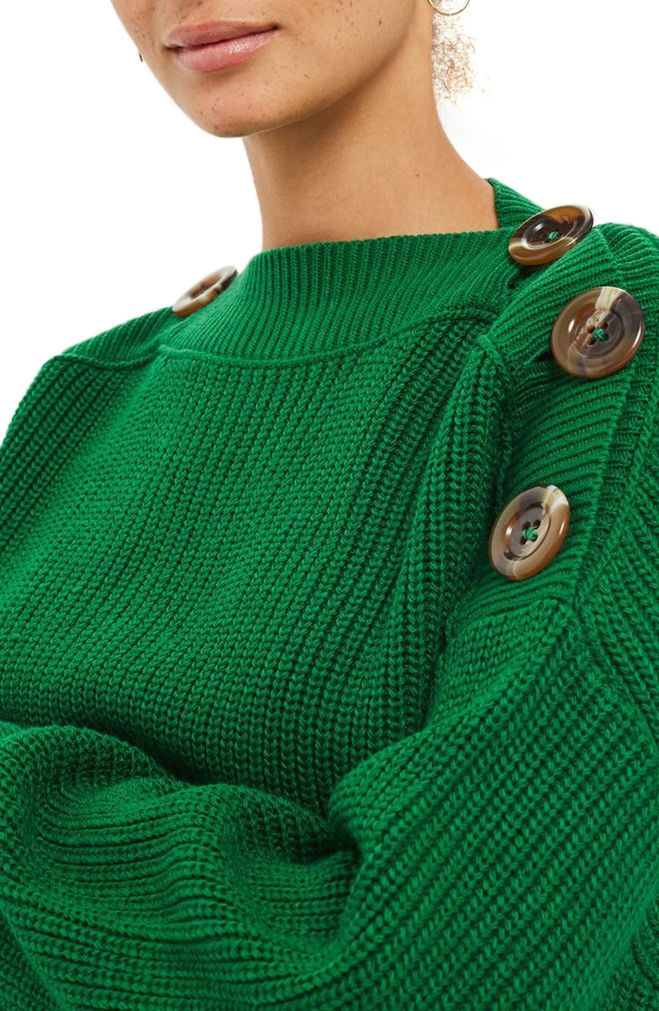 Button Slash Knit Sweater,                             Alternate thumbnail 3, color,                             Green