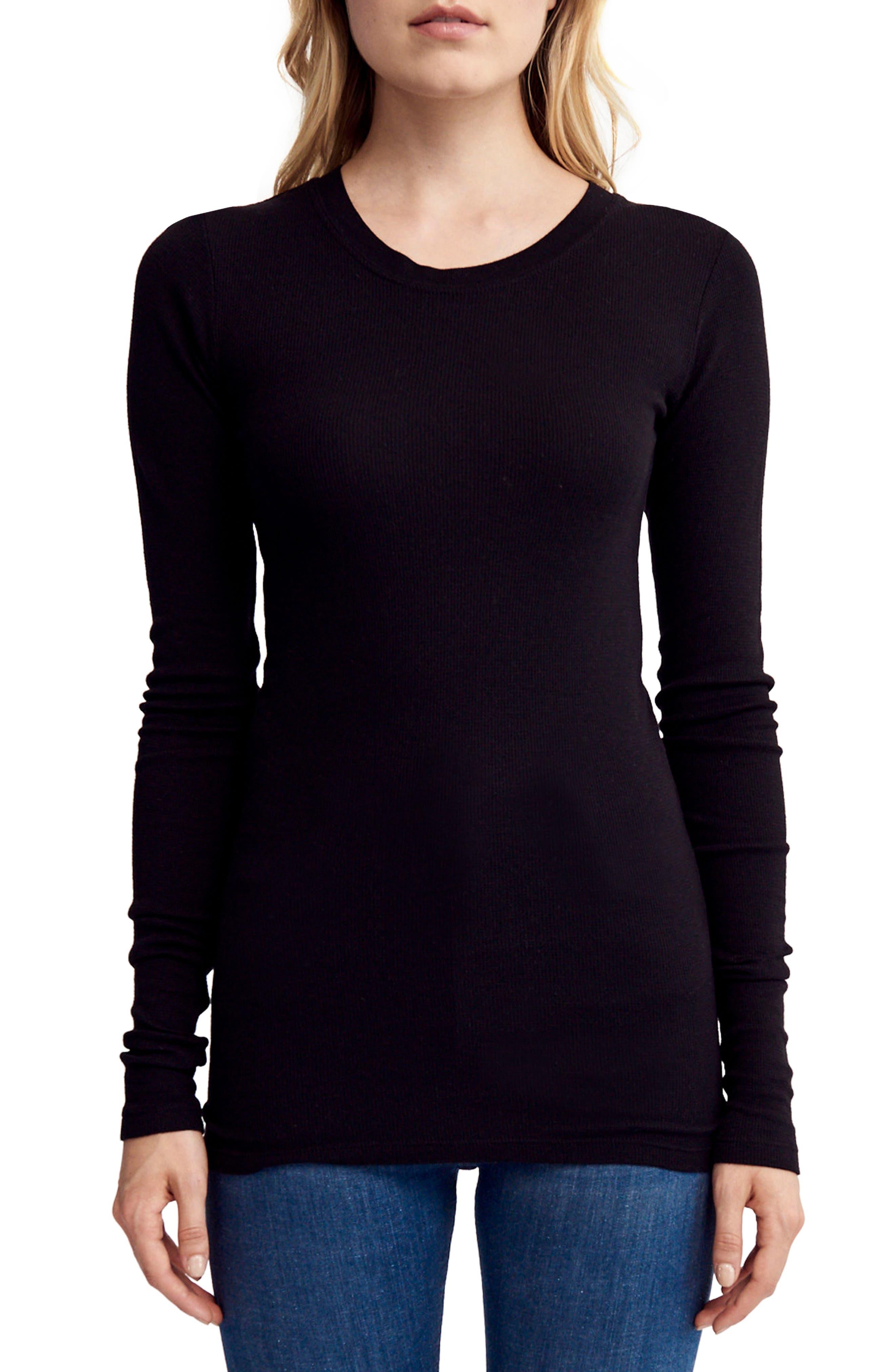 Thermal Knit Top,                         Main,                         color, Black