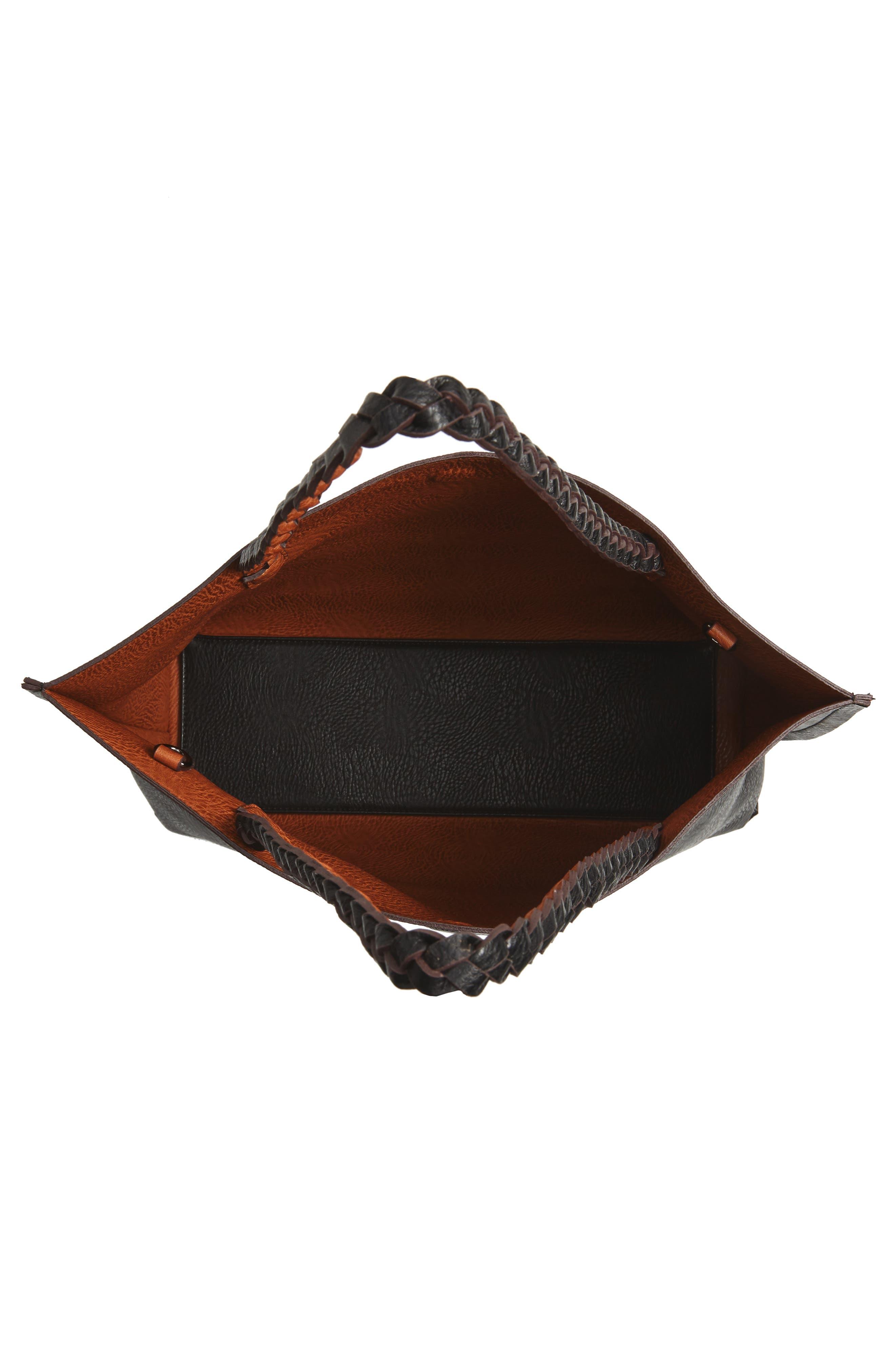 Reversible Faux Leather Tote,                             Alternate thumbnail 5, color,                             Black