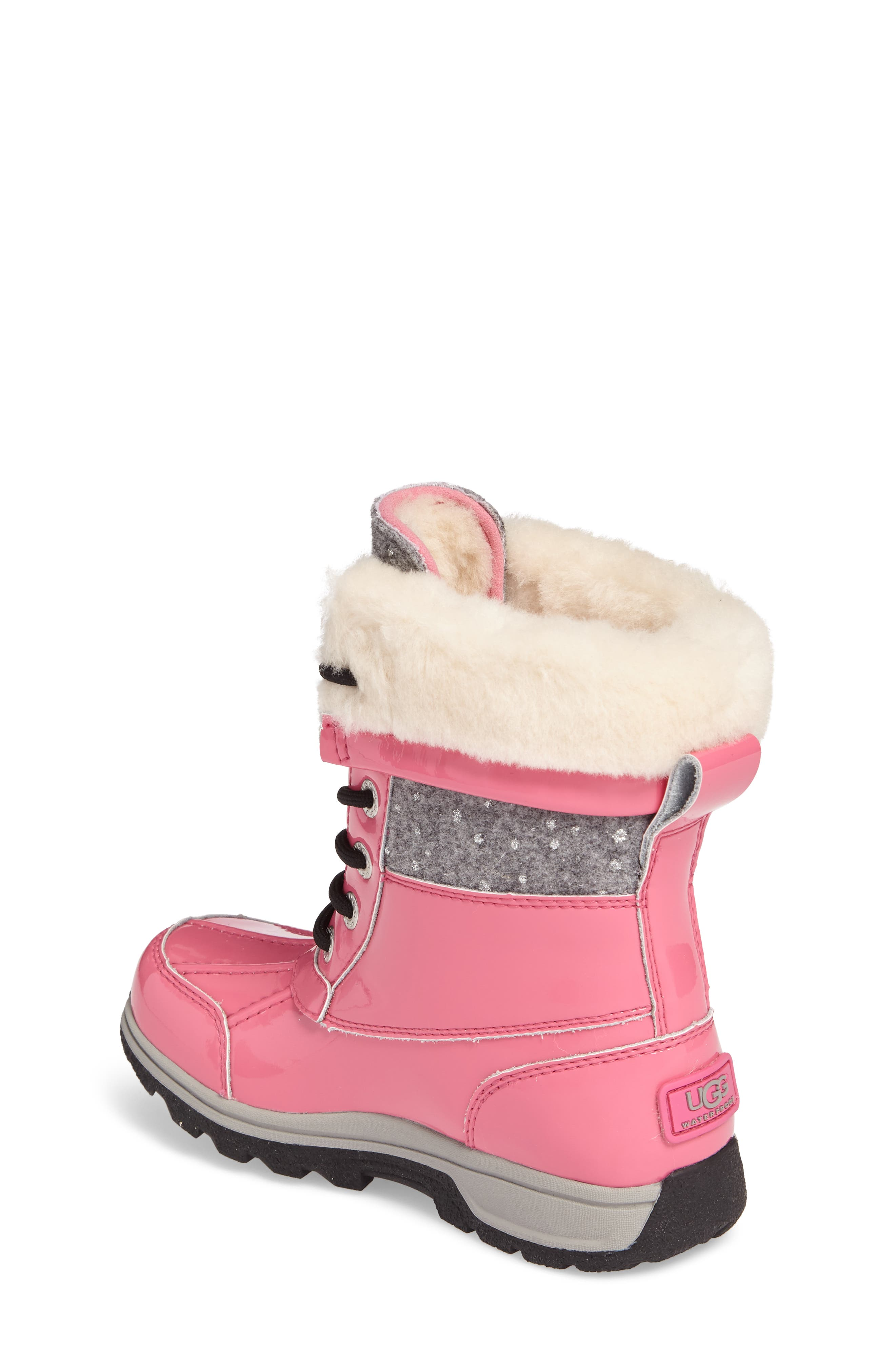 Butte II Patent Sparkle Waterproof Boot,                             Alternate thumbnail 2, color,                             Pink Azalea