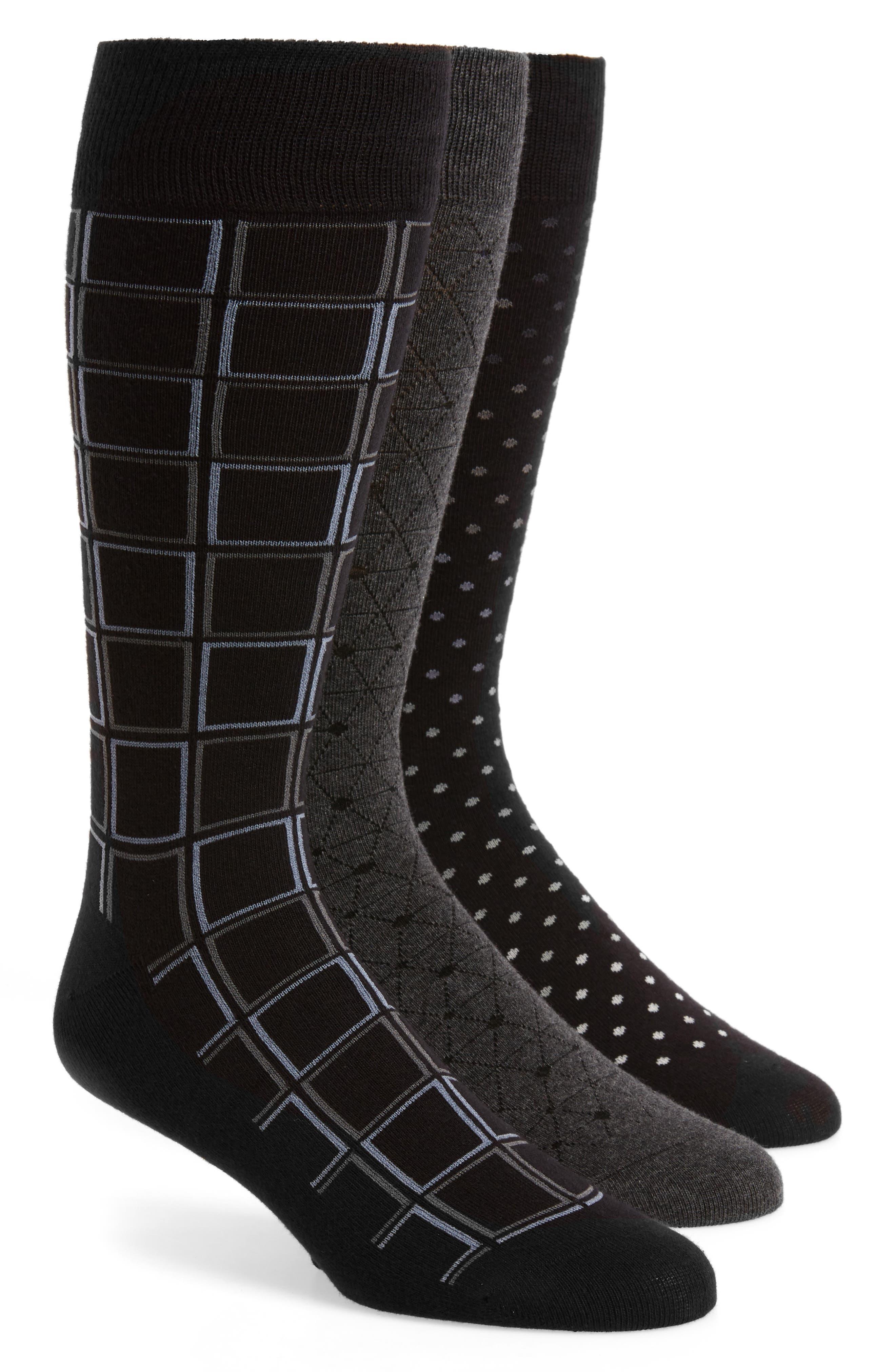 3-Pack Mixed Pattern Socks,                             Main thumbnail 1, color,                             Black/ Charcoal