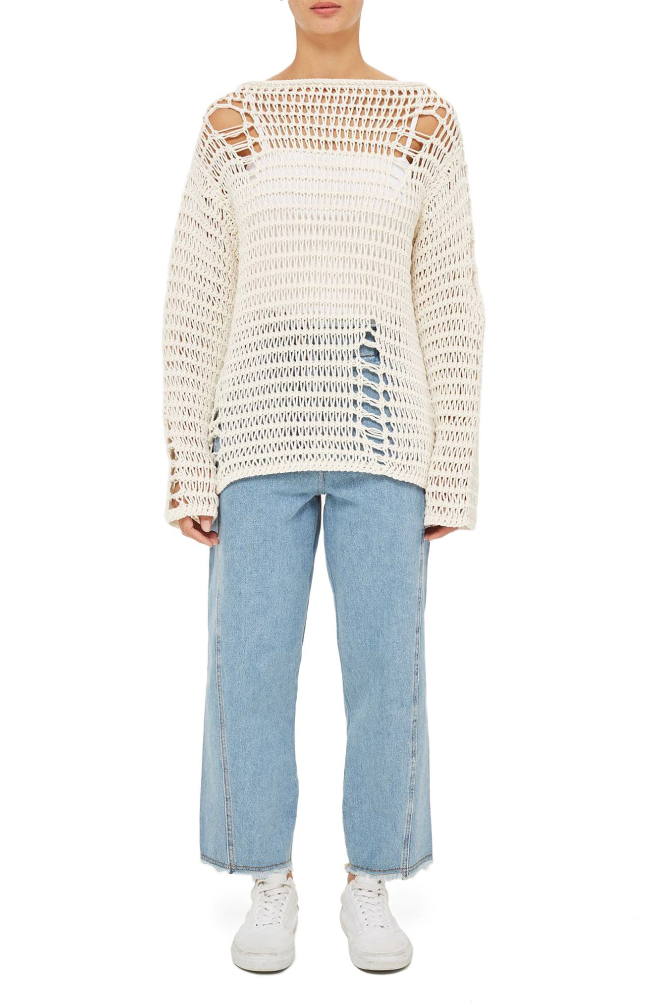 Topshop Boutique Distressed Knit Sweater