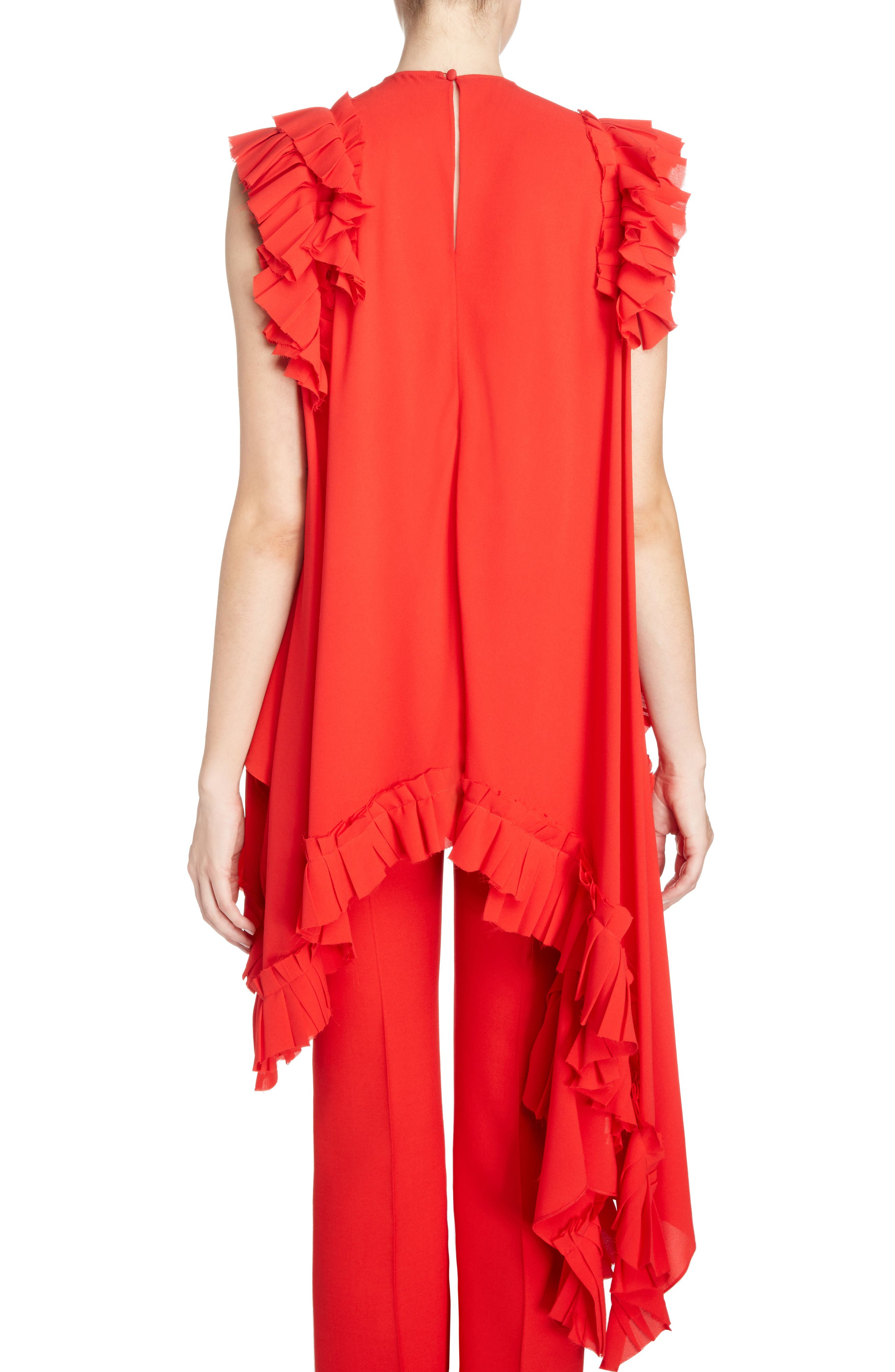 Asymmetrical Ruffle Trim Silk Georgette Top,                             Alternate thumbnail 2, color,                             Lust Red