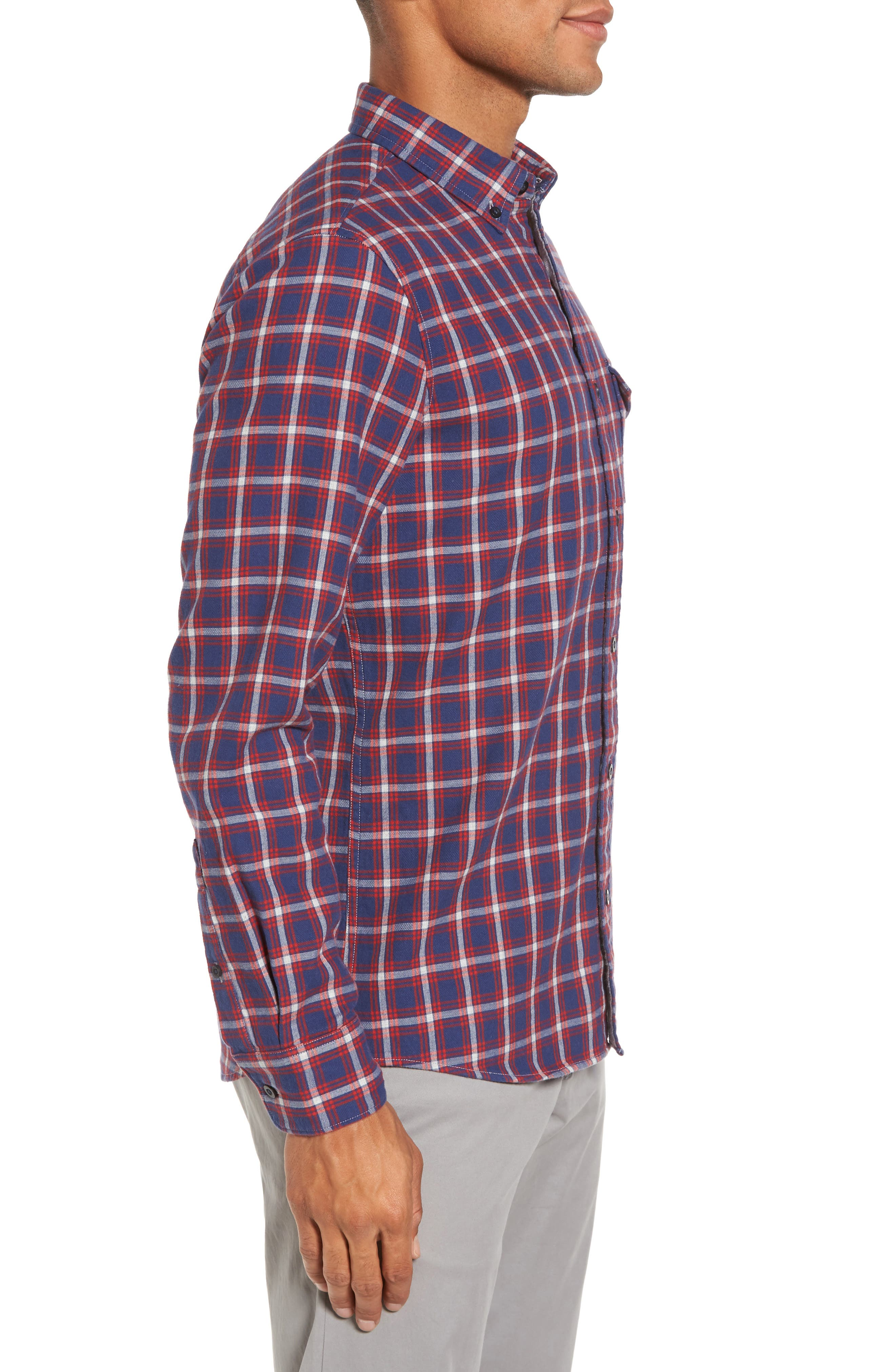 Trim Fit Duofold Check Sport Shirt,                             Alternate thumbnail 3, color,                             Navy Iris Red Plaid Duofold