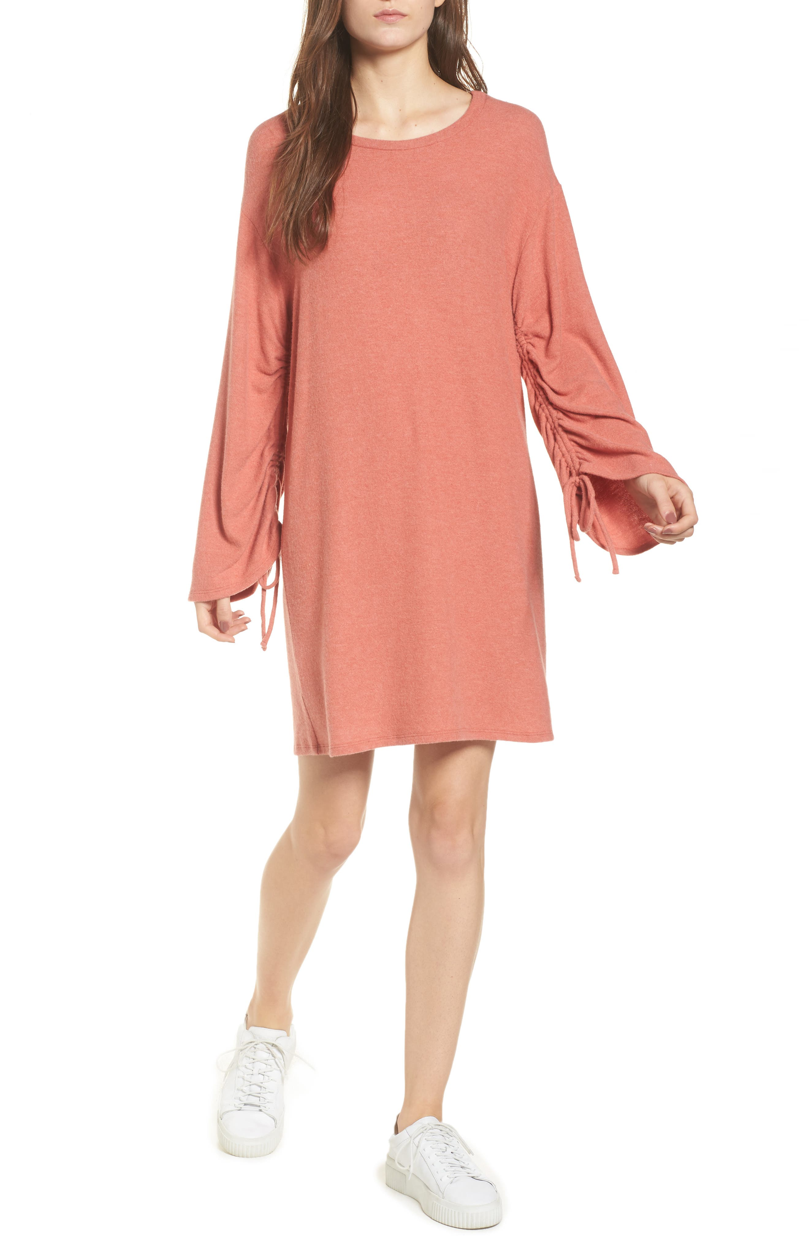 Ruched Sleeve Sweater Dress,                         Main,                         color, Paprika