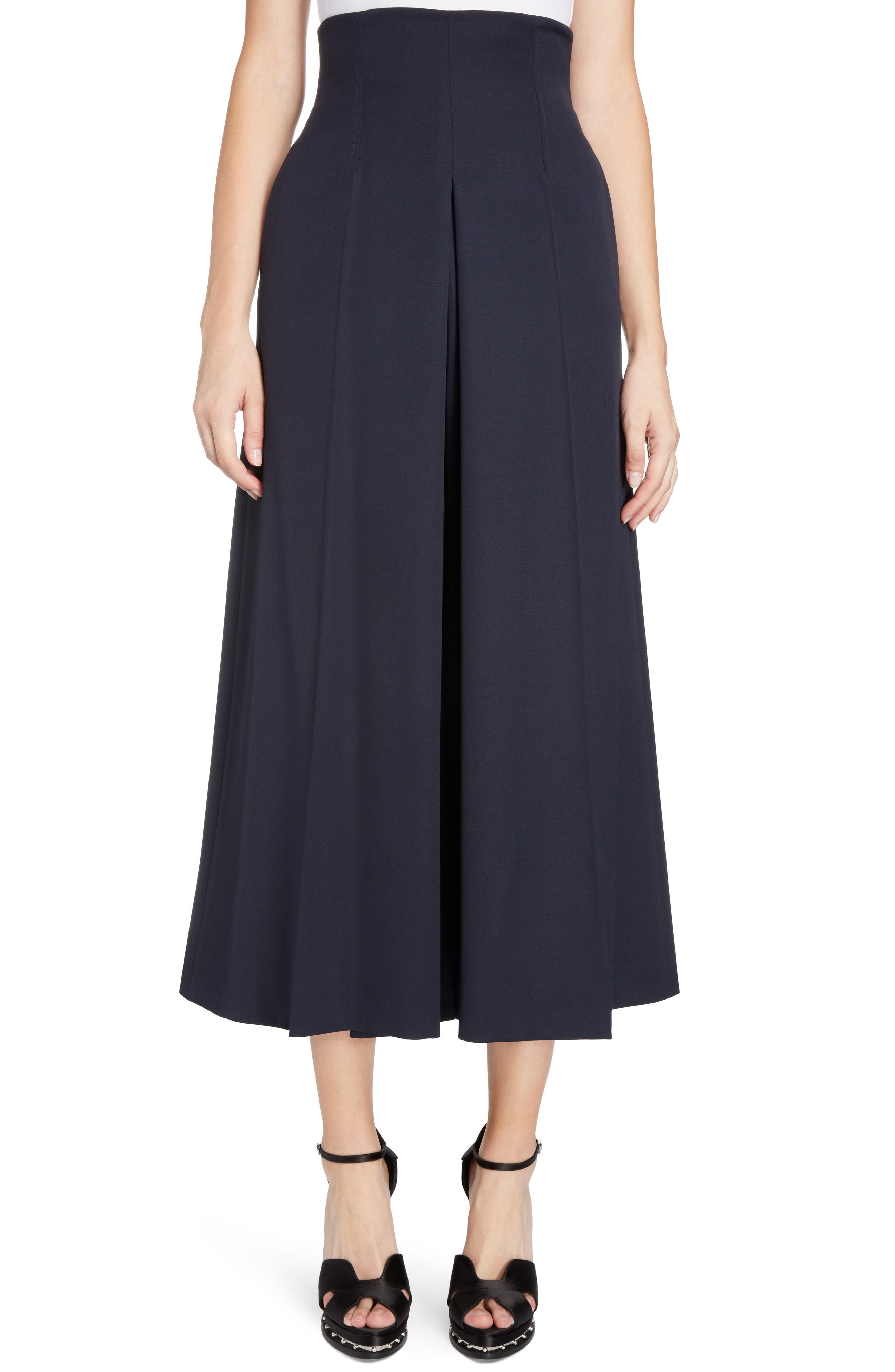 Wool Culottes,                         Main,                         color, Midnight Blue