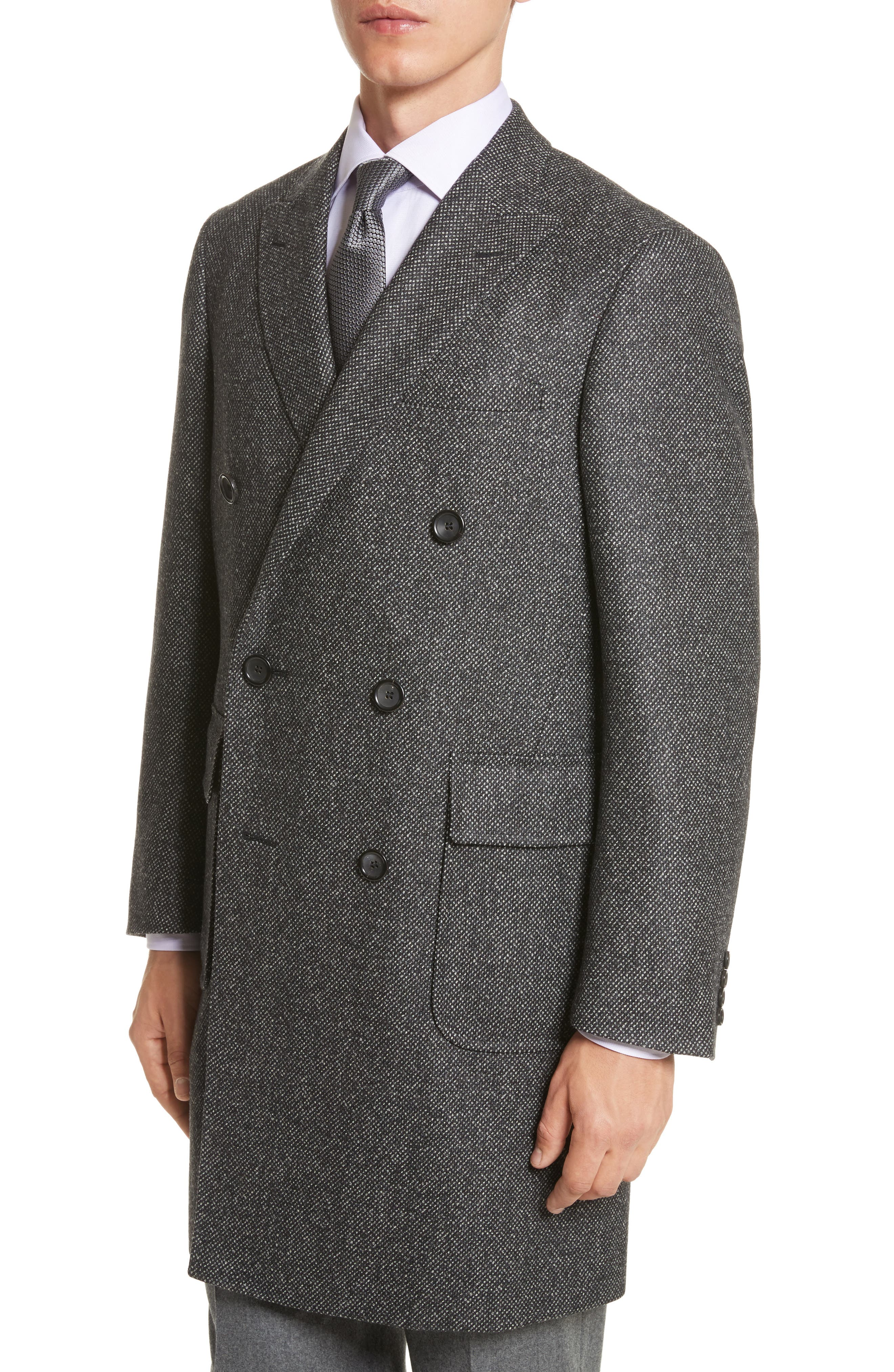 Alternate Image 4  - Canali Classic Fit Wool Topcoat