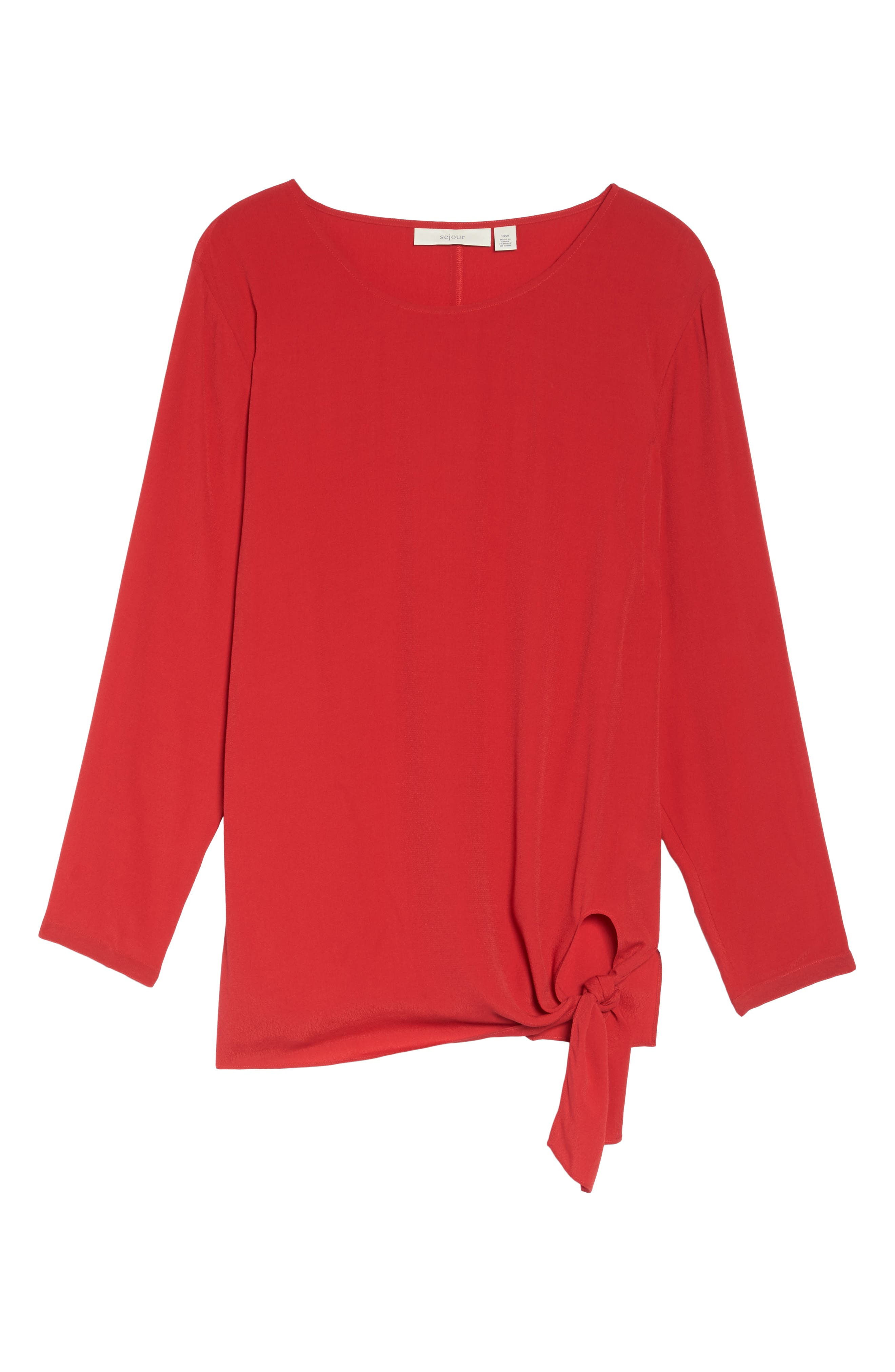 Side Tie Blouse,                             Alternate thumbnail 6, color,                             Red Sage