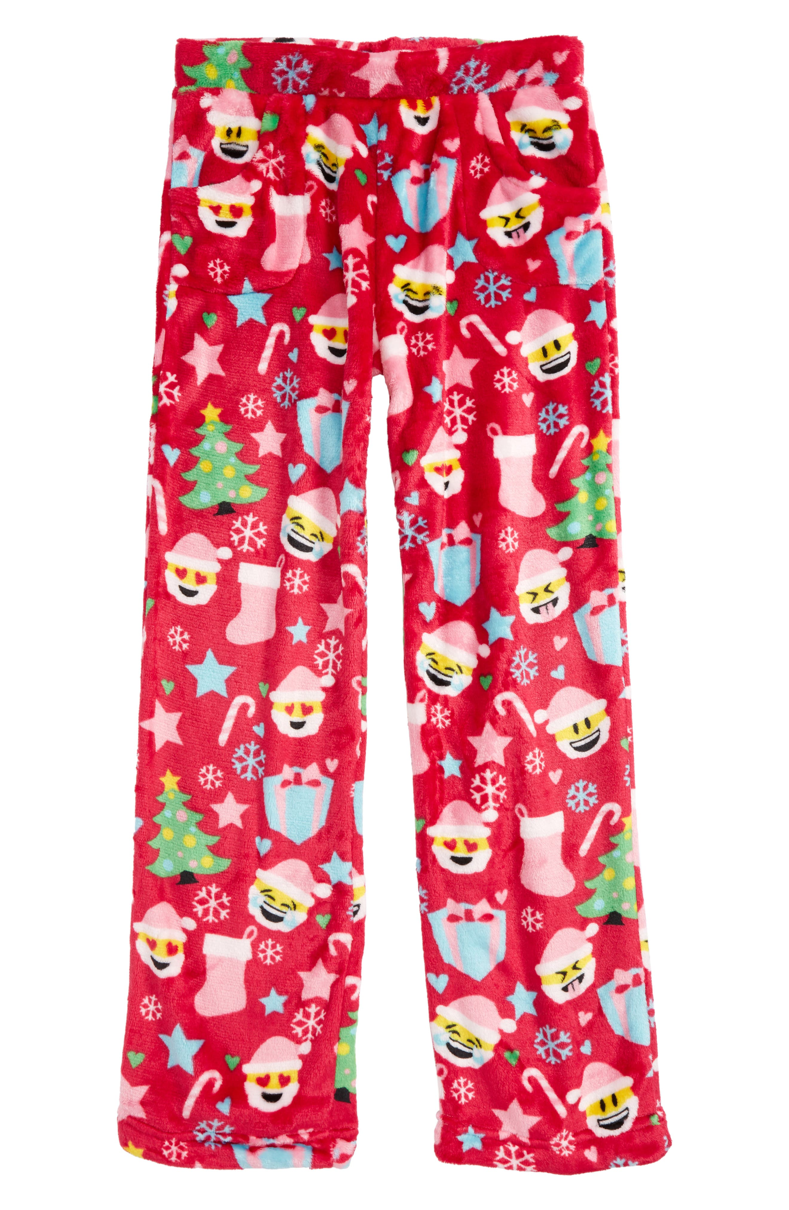 Candy Pink Christmas Emoji Print Pajama Pants (Little Girls & Big Girls)