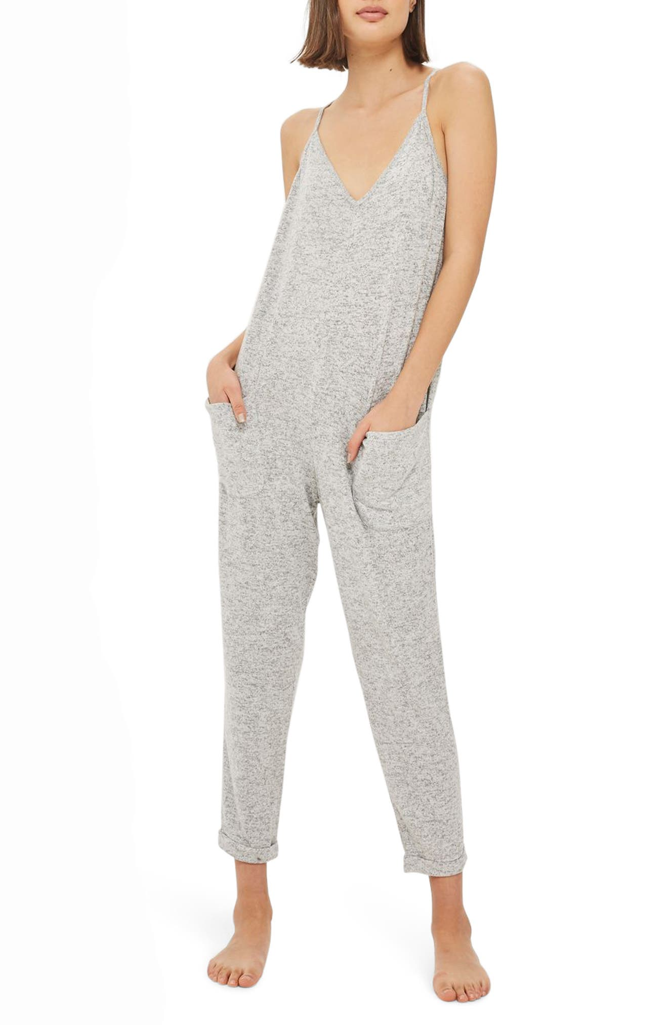 Supersoft Lounge Jumpsuit,                             Main thumbnail 1, color,                             Grey Marl