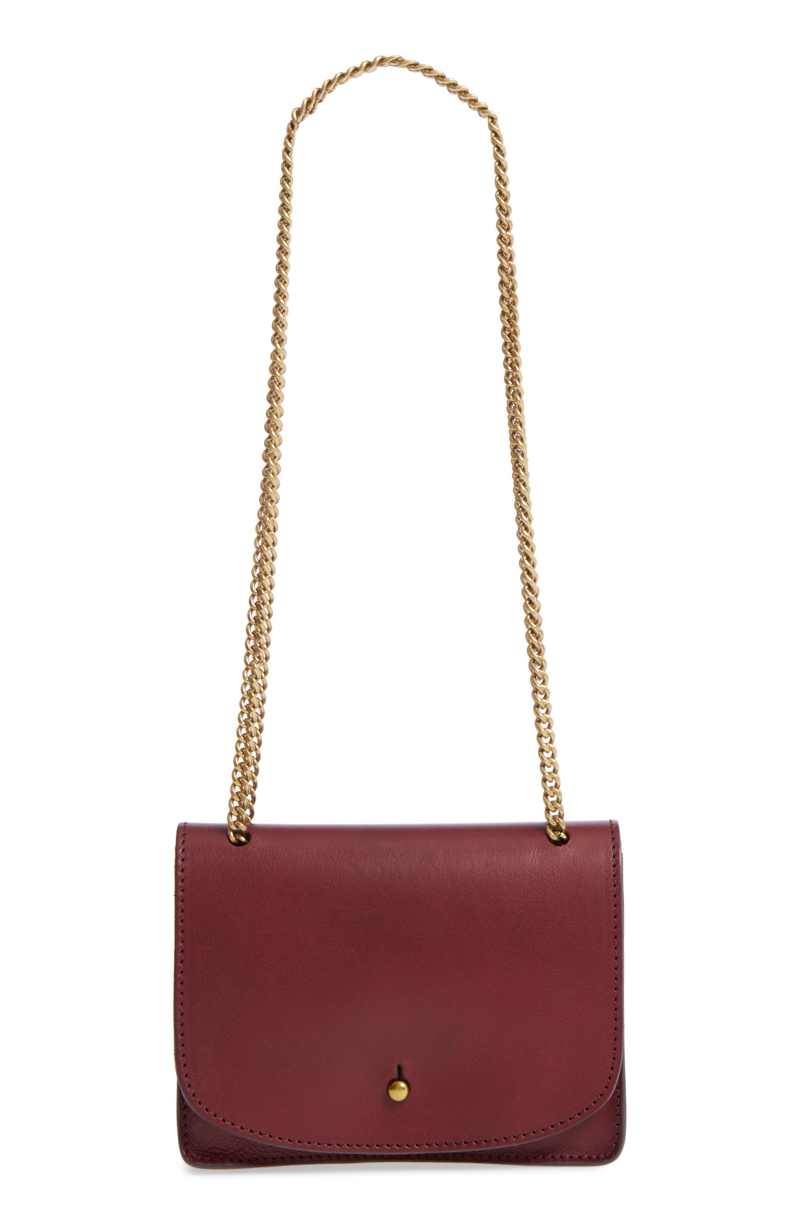 Chain Leather Crossbody Bag,                         Main,                         color, Cabernet