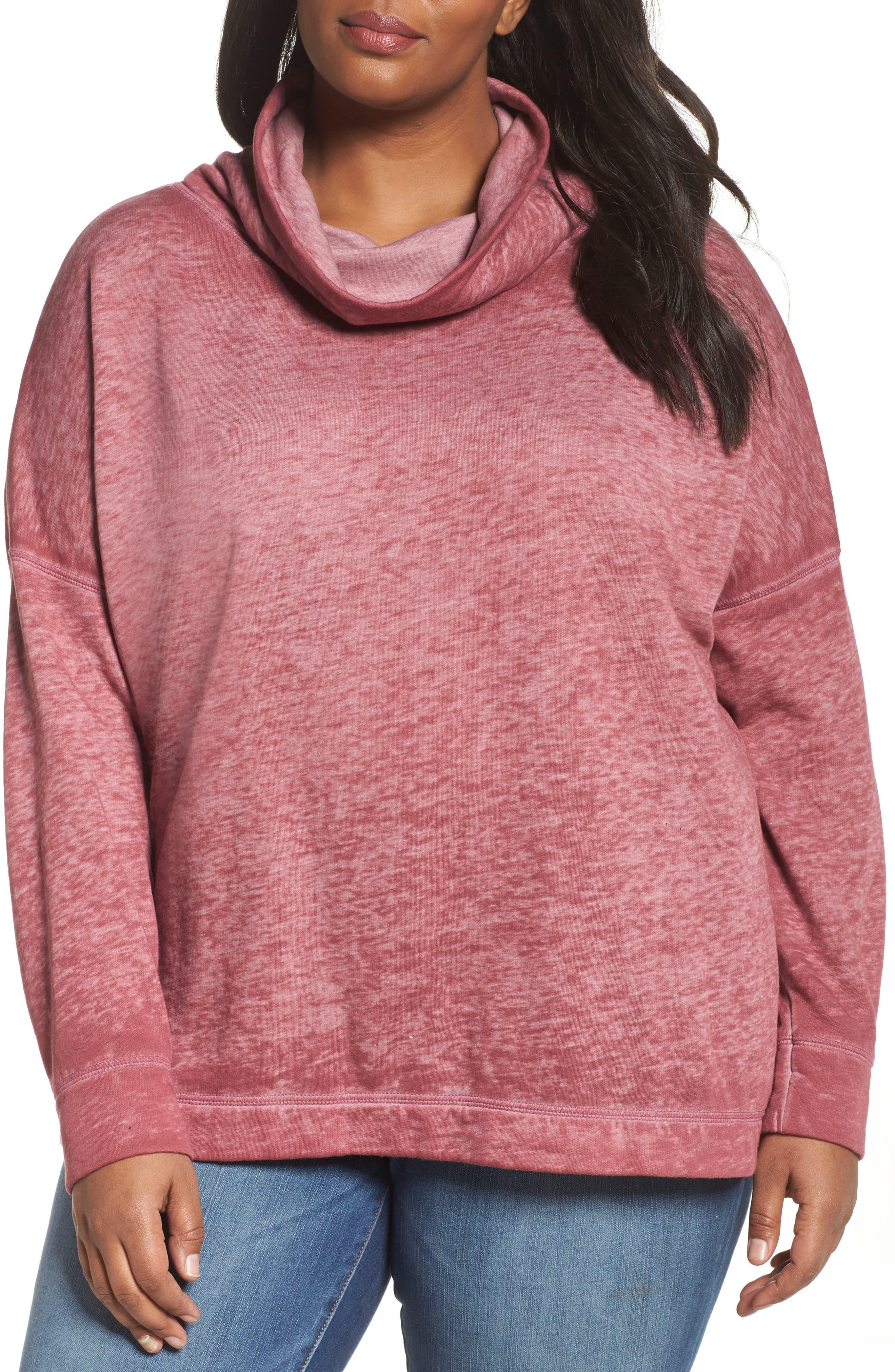 Pleat Back Sweatshirt,                         Main,                         color, Burgundy Thorn