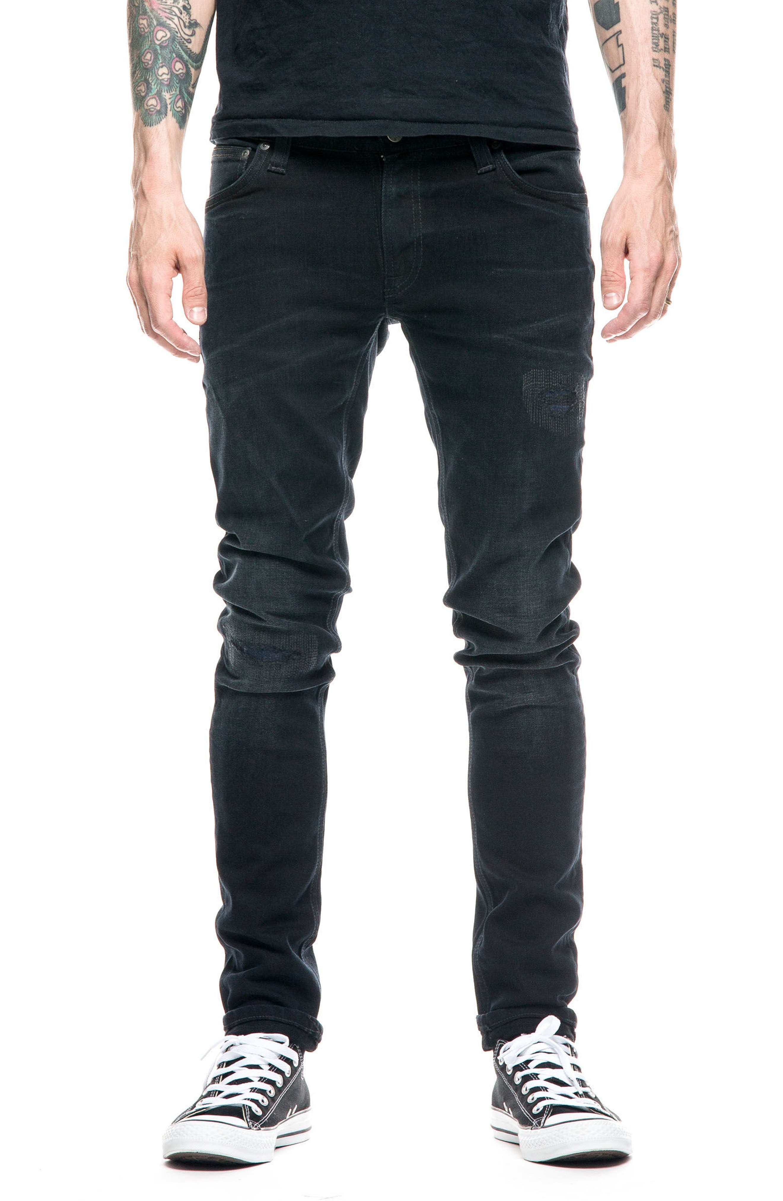 Nudie Jeans Skinny Lin Skinny Fit Jeans (Black Blue Patches)