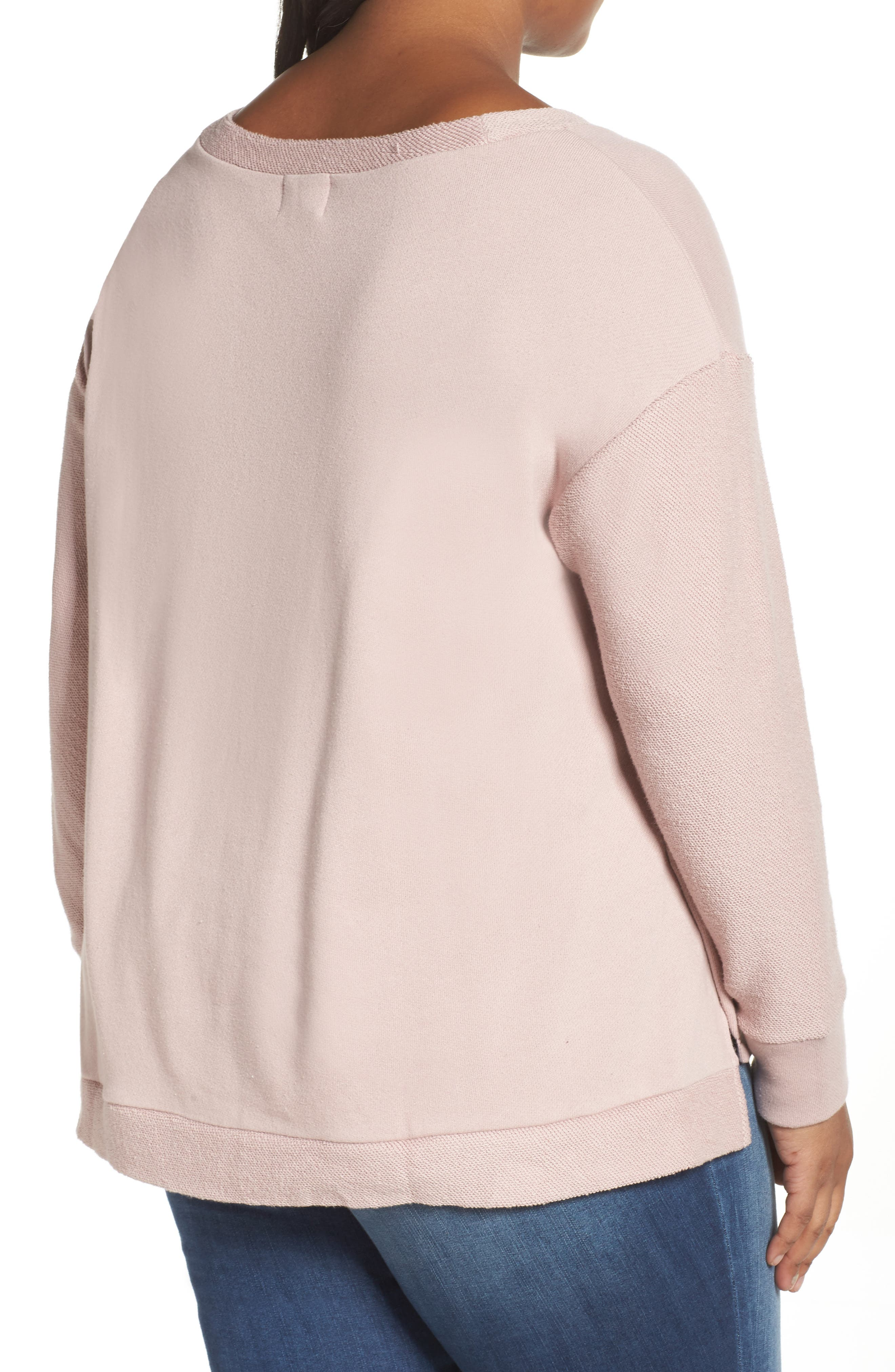 Relaxed Sweatshirt,                             Alternate thumbnail 2, color,                             Pink Adobe