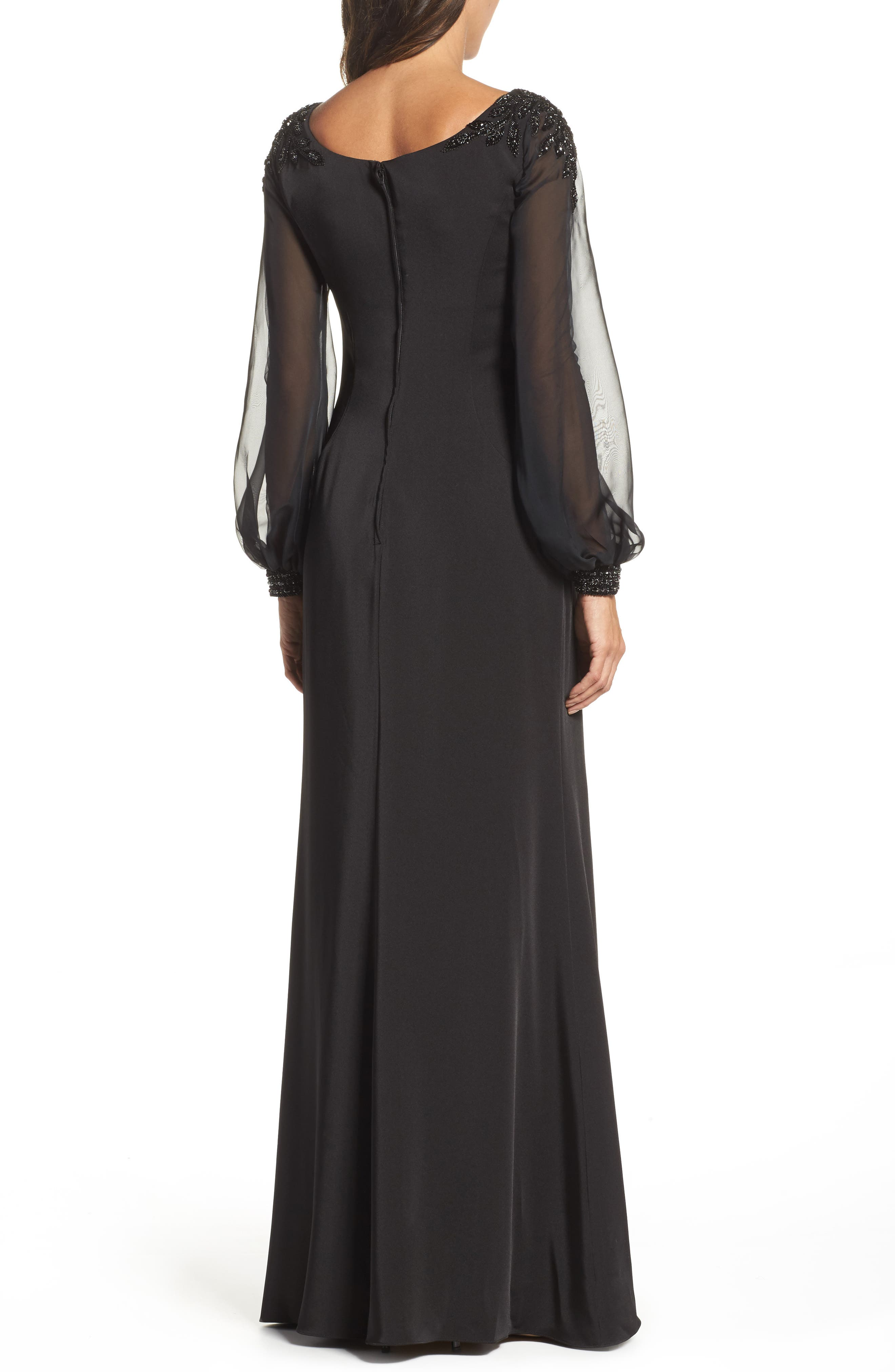 Beaded Bubble Sleeve Gown,                             Alternate thumbnail 2, color,                             Black