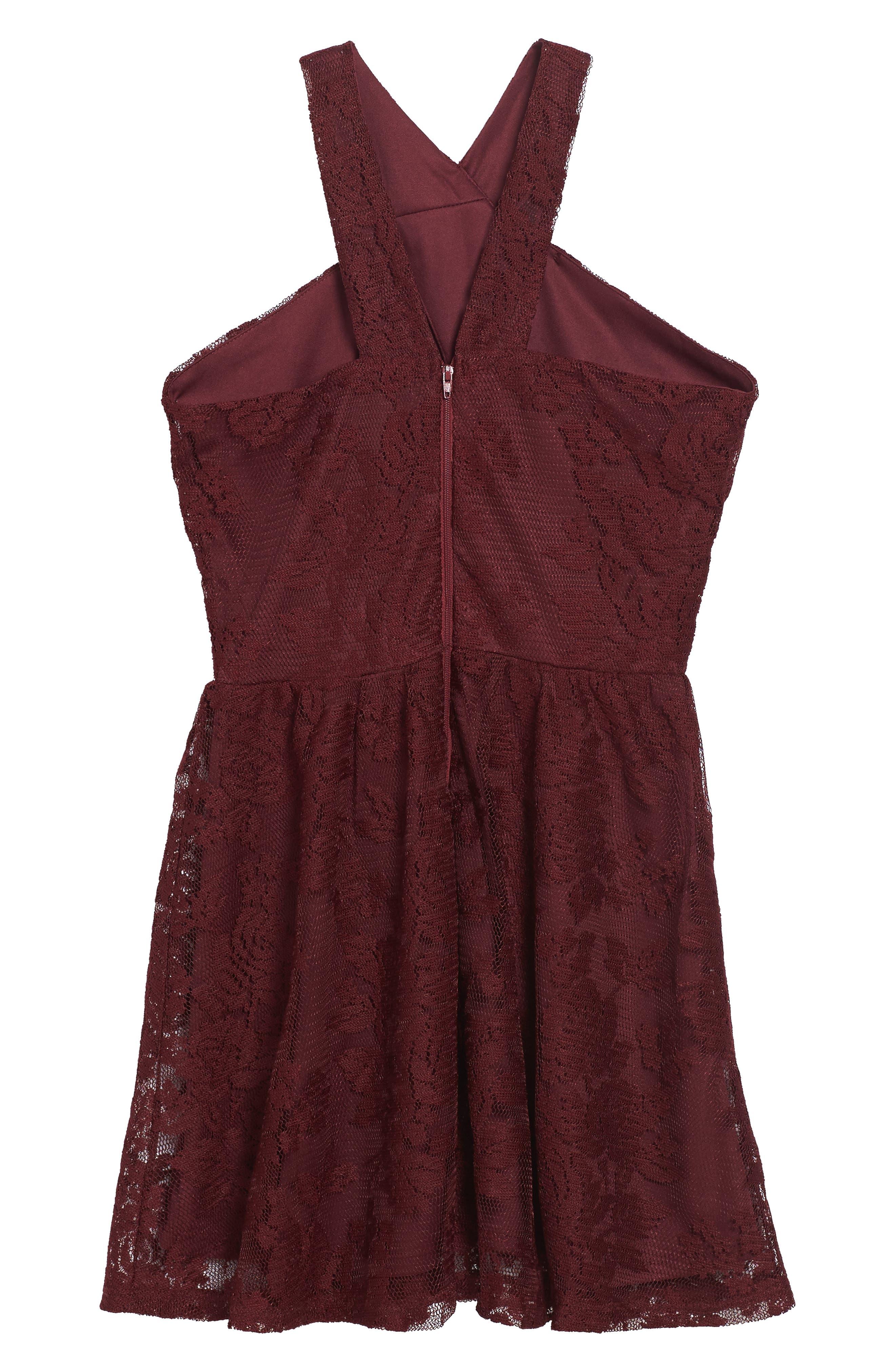 Winona Lace Dress,                             Alternate thumbnail 2, color,                             Burgandy