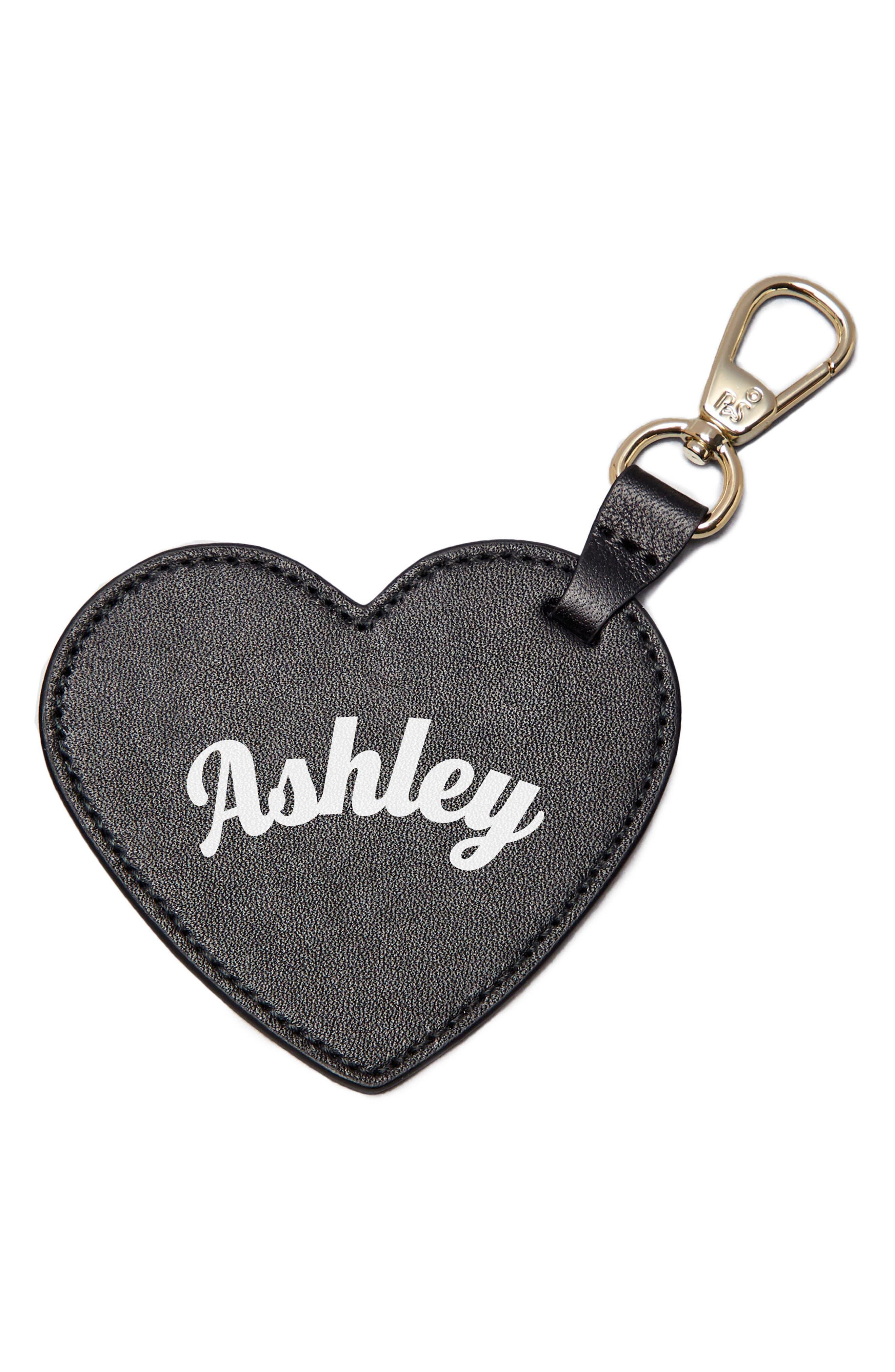 Smaller Heart Personalized Bag Charm,                             Main thumbnail 1, color,                             Noir/ White
