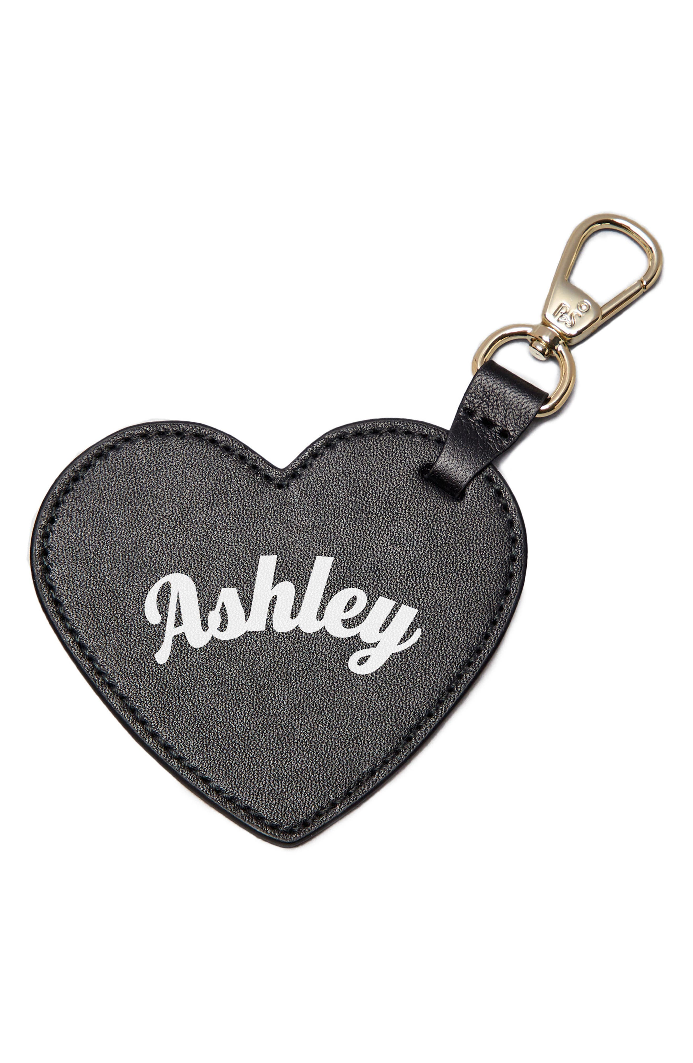 Smaller Heart Personalized Bag Charm,                         Main,                         color, Noir/ White