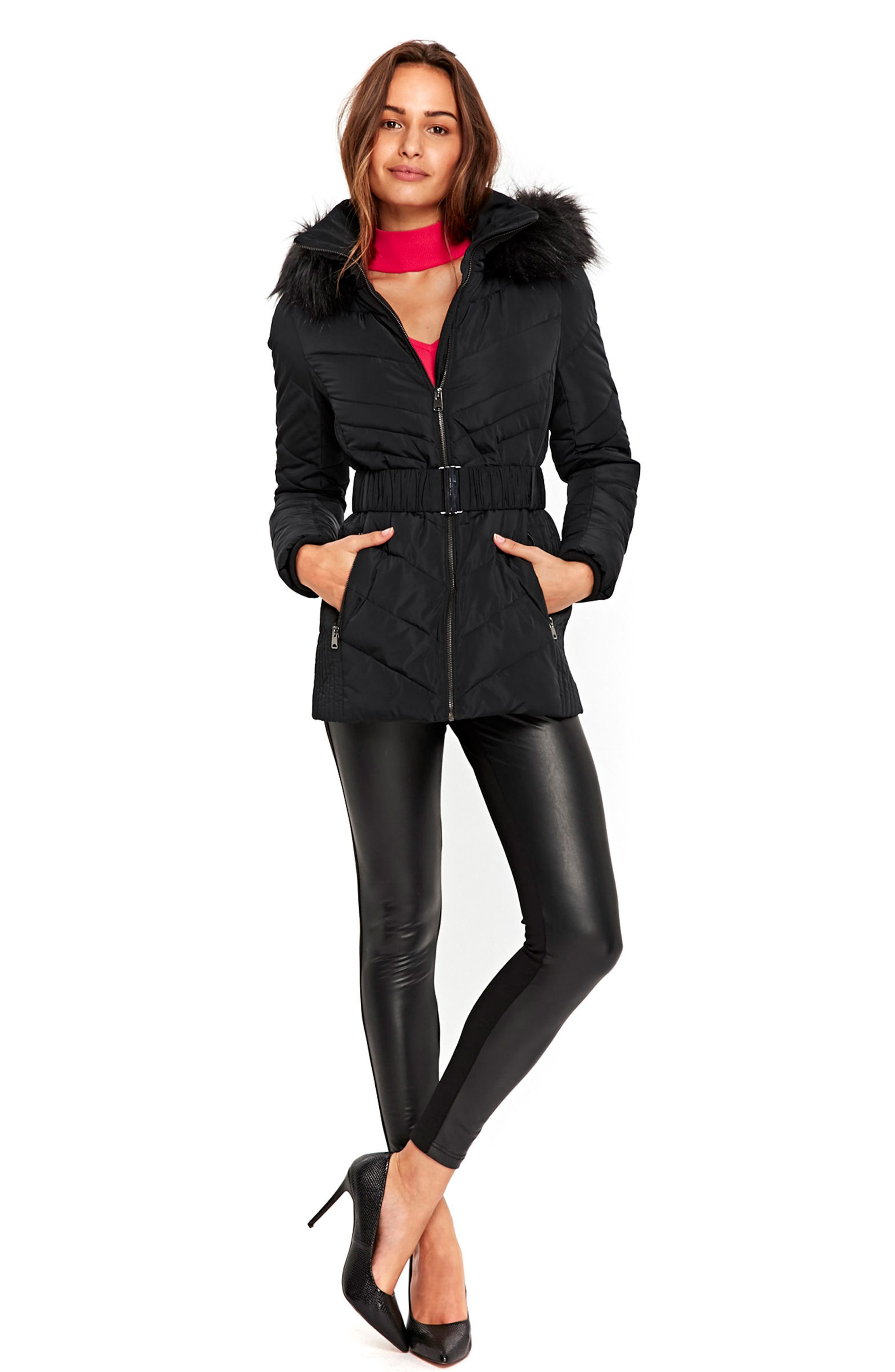 Water Repellent Quilted Puffer Coat with Faux Fur Trim,                             Alternate thumbnail 2, color,                             Black