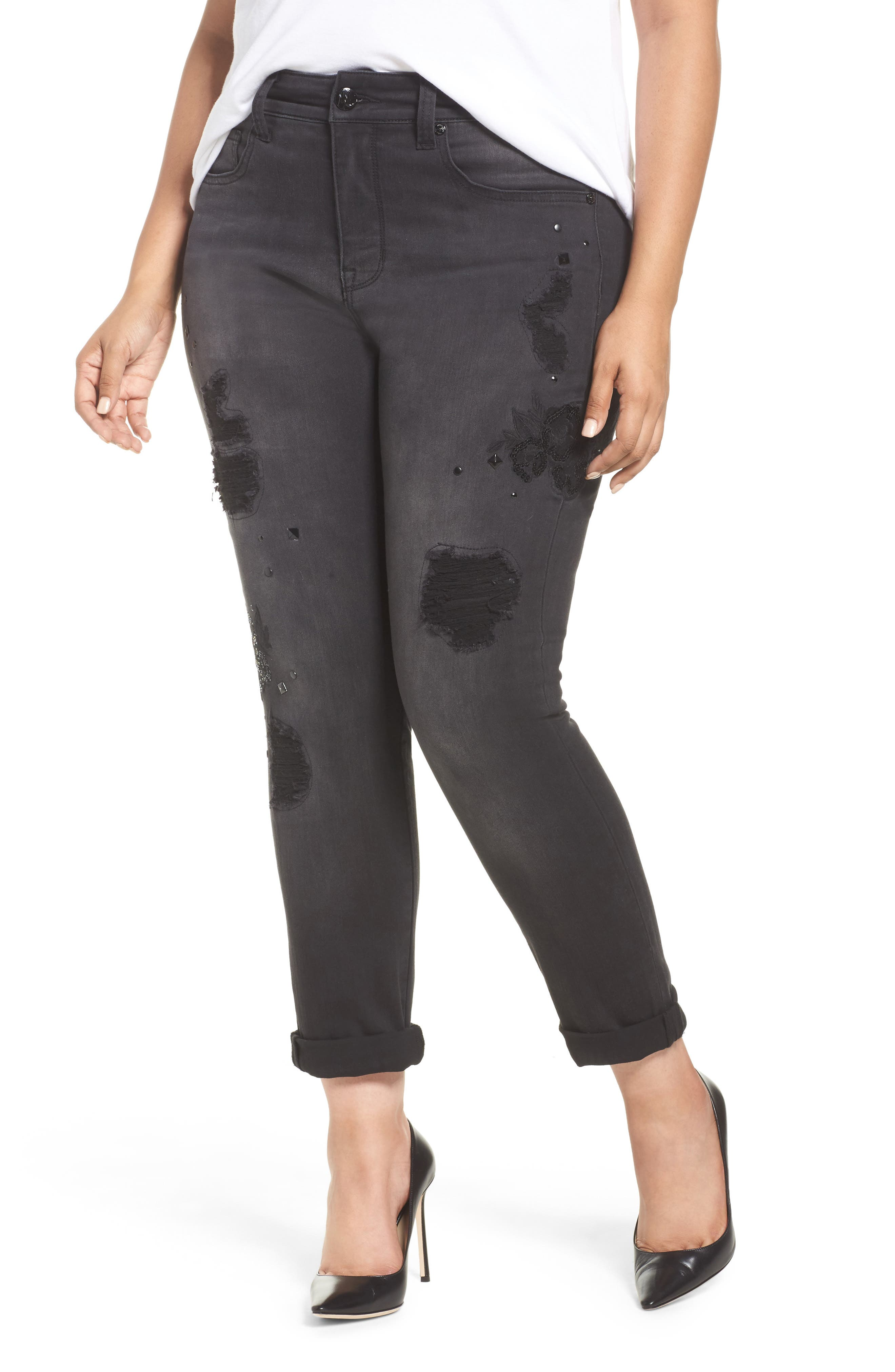 Melissa McCarthy Seven7 Embroidered Roll Cuff Skinny Jeans (Ester) (Plus Size)