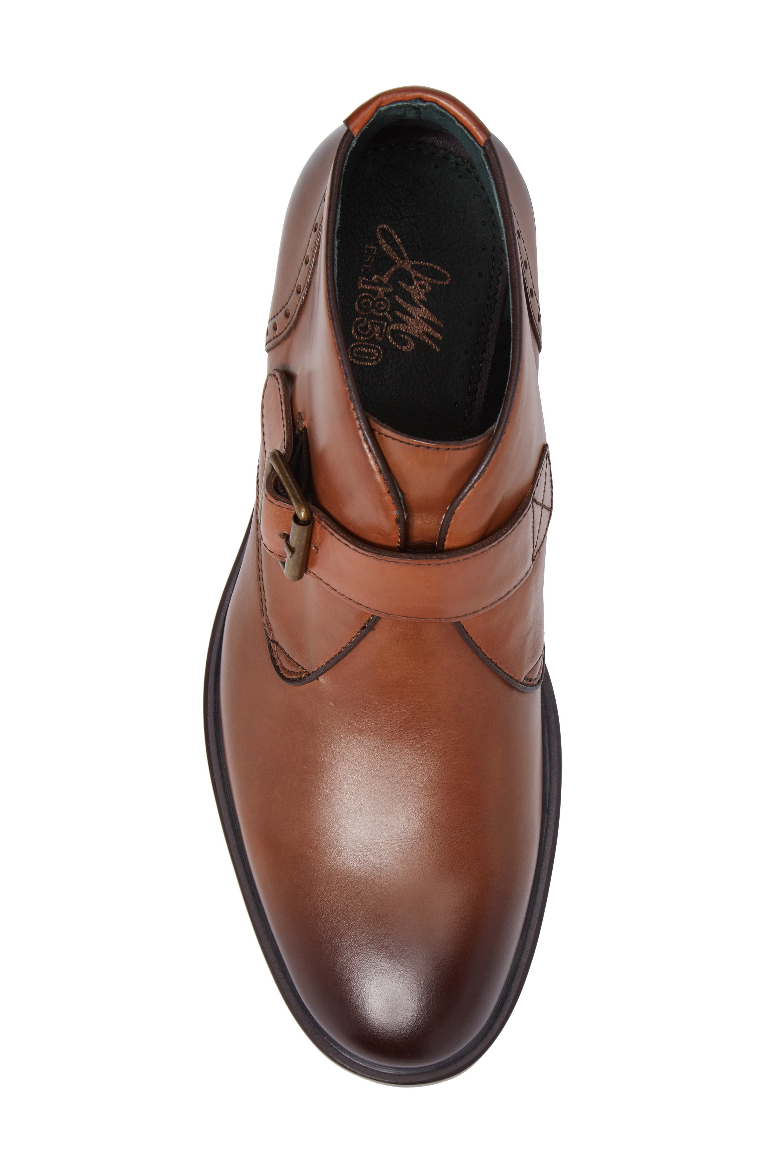 Myles Monk Strap Boot,                             Alternate thumbnail 5, color,                             Cognac Leather