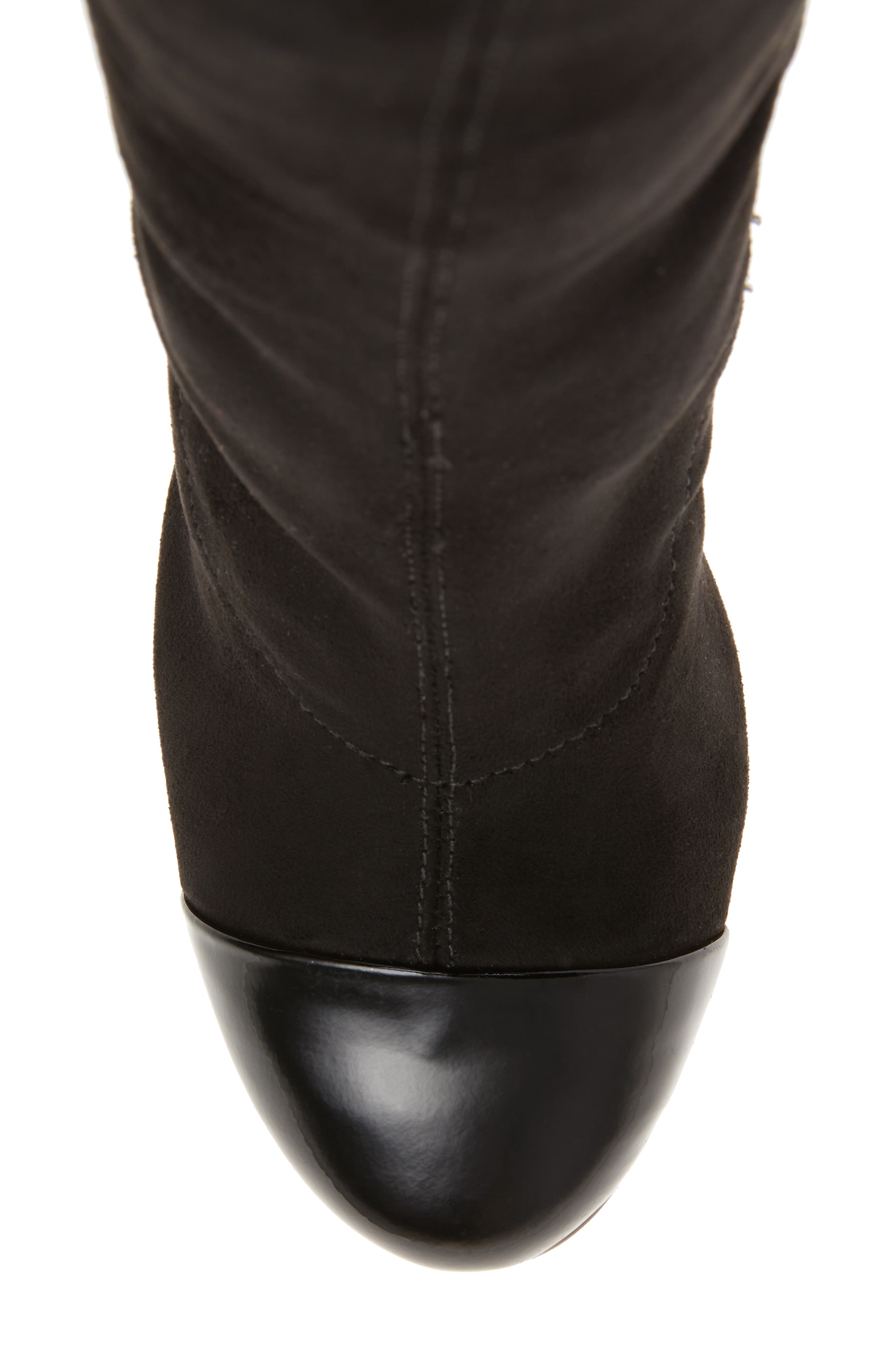 Petel Over the Knee Boot,                             Alternate thumbnail 5, color,                             Black Faux Suede