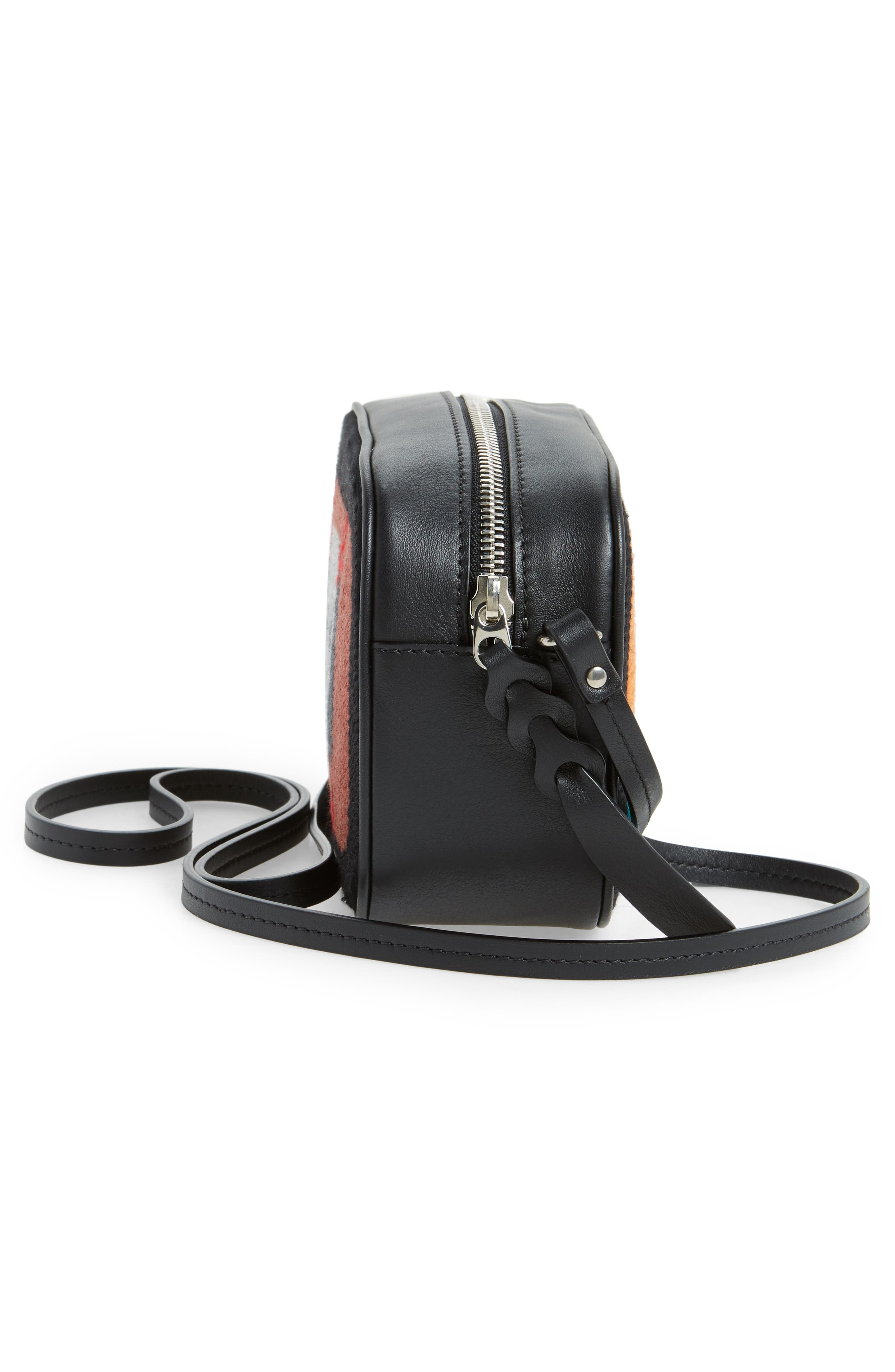 Small Embroidered Leather Camera Bag,                             Alternate thumbnail 5, color,                             Black Multicolor