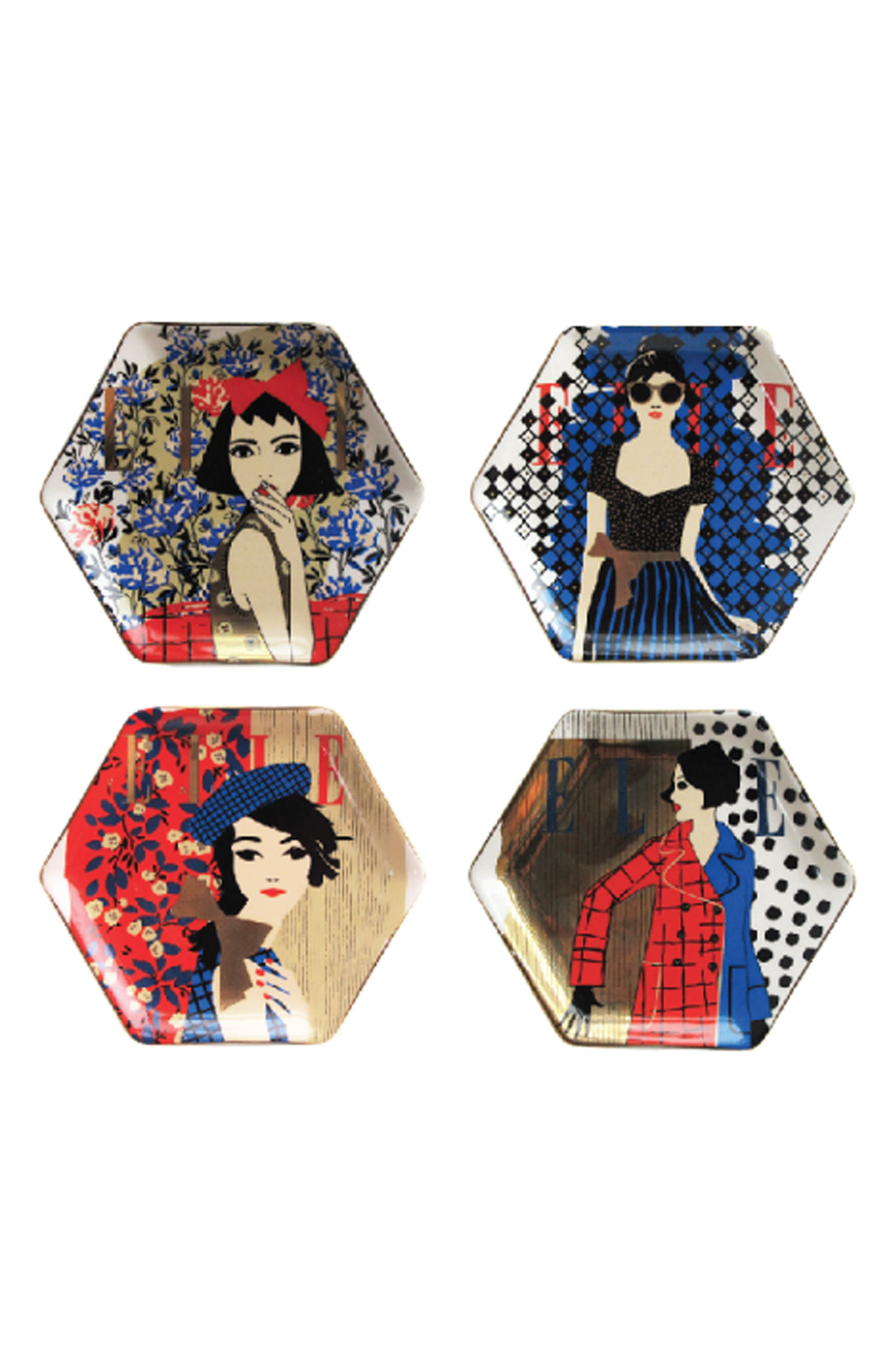 Elle Set of 4 Fashion Week Ceramic Plates,                             Main thumbnail 1, color,                             Multi