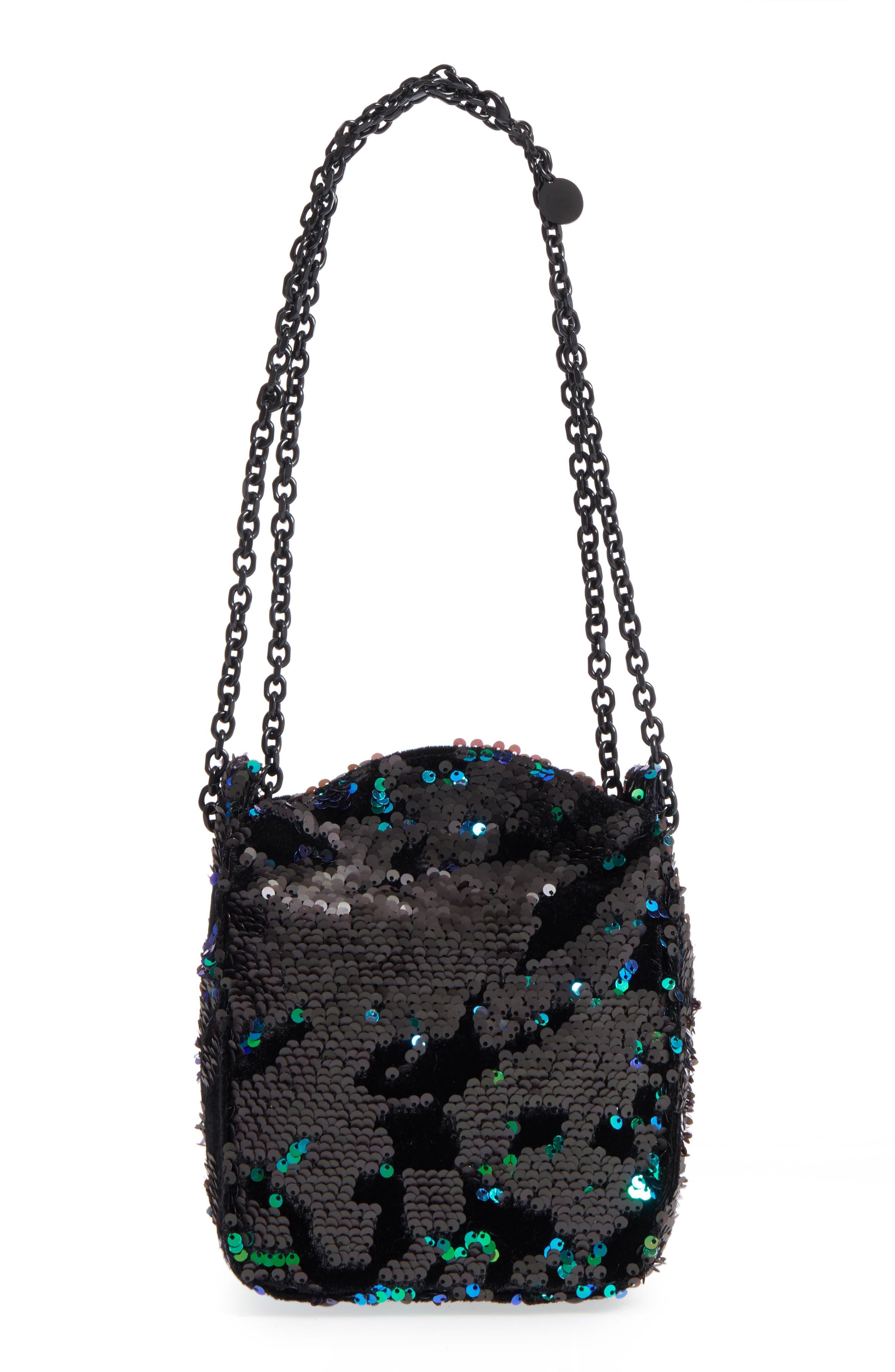 Amy Sequin Bucket Bag,                             Alternate thumbnail 3, color,                             Iridescent Sequins