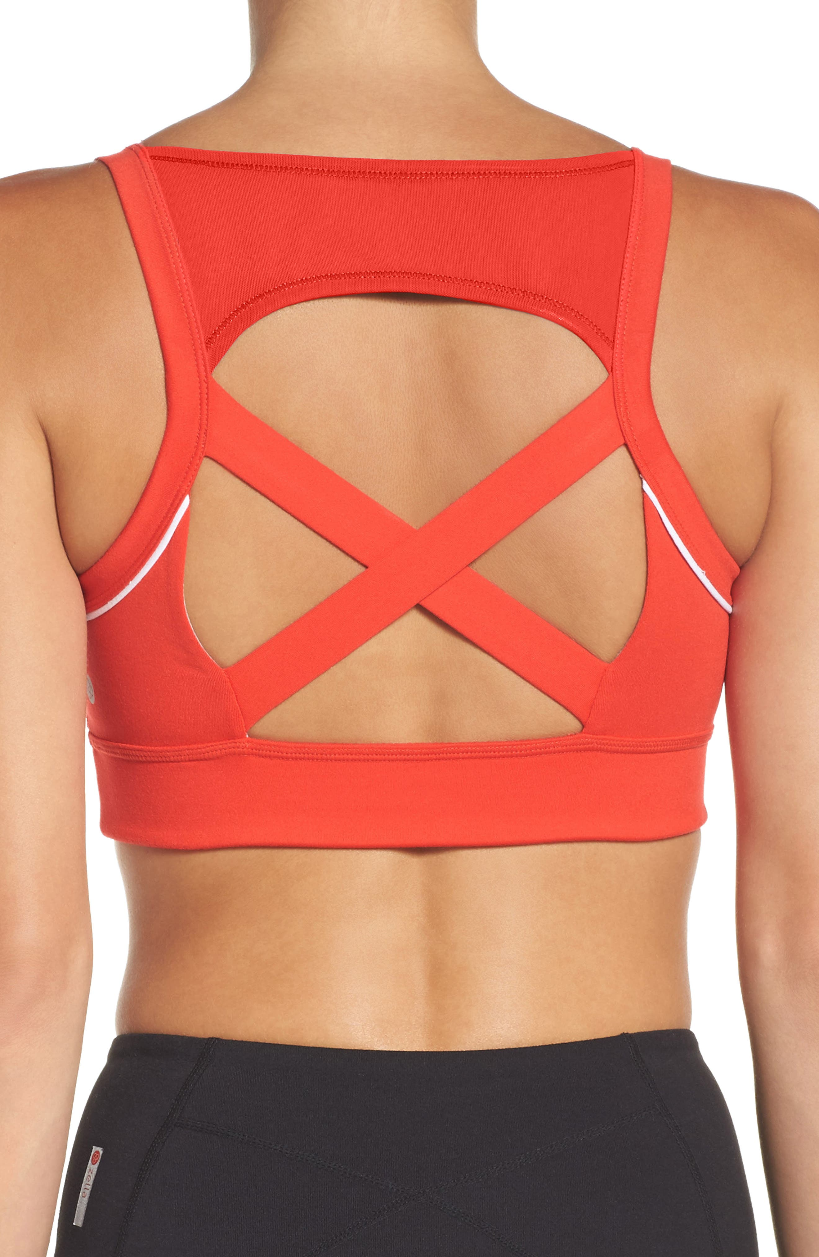 Harness Sports Bra,                             Alternate thumbnail 3, color,                             Red Fiery