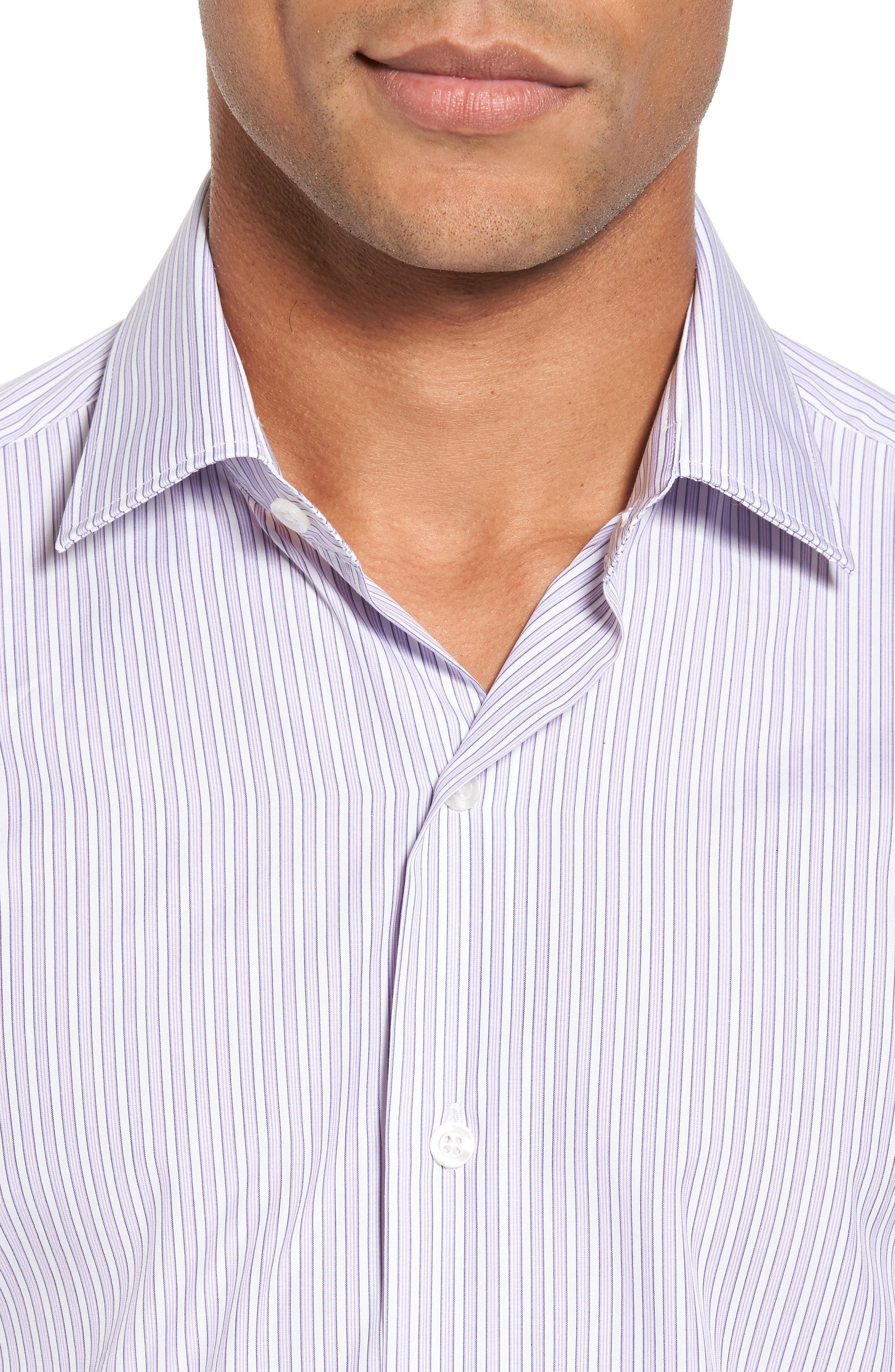 Slim Fit Perfect Stripe Sport Shirt,                             Alternate thumbnail 4, color,                             Purple