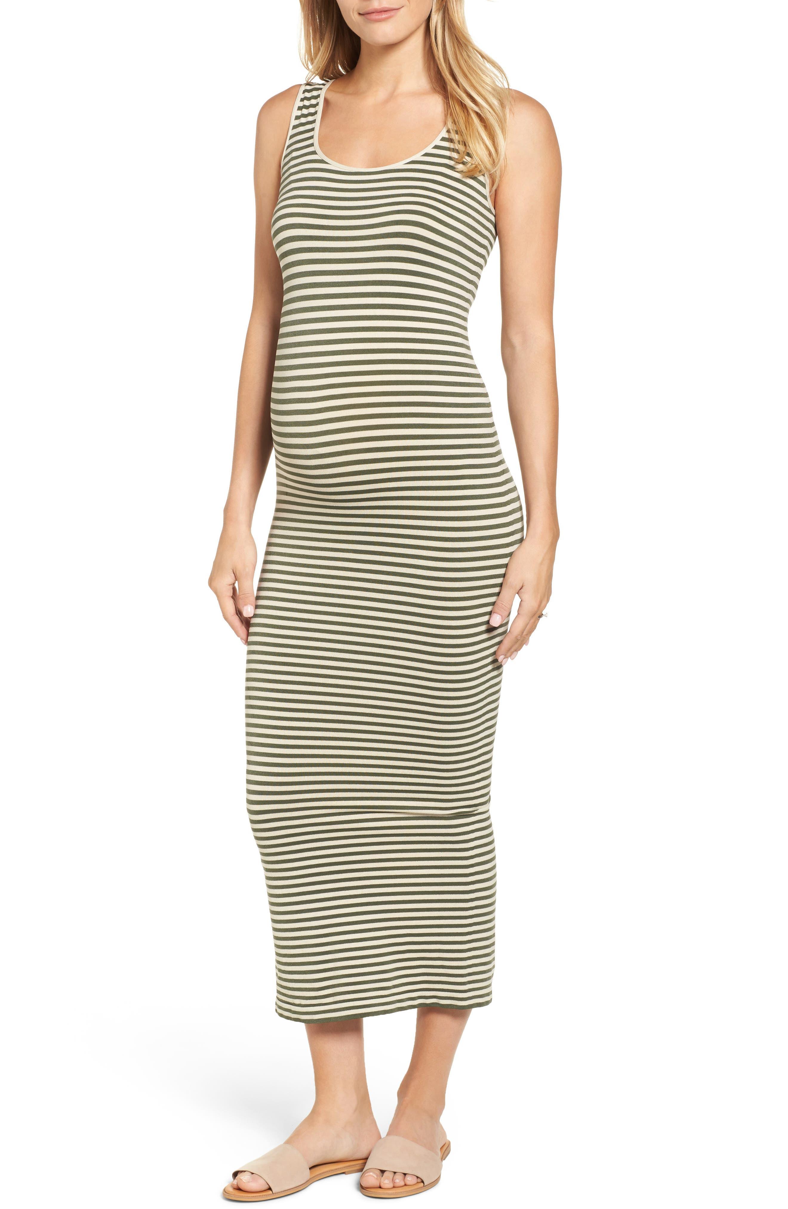 Micro Stripe Maternity Dress,                         Main,                         color, Oatmeal/ Olive