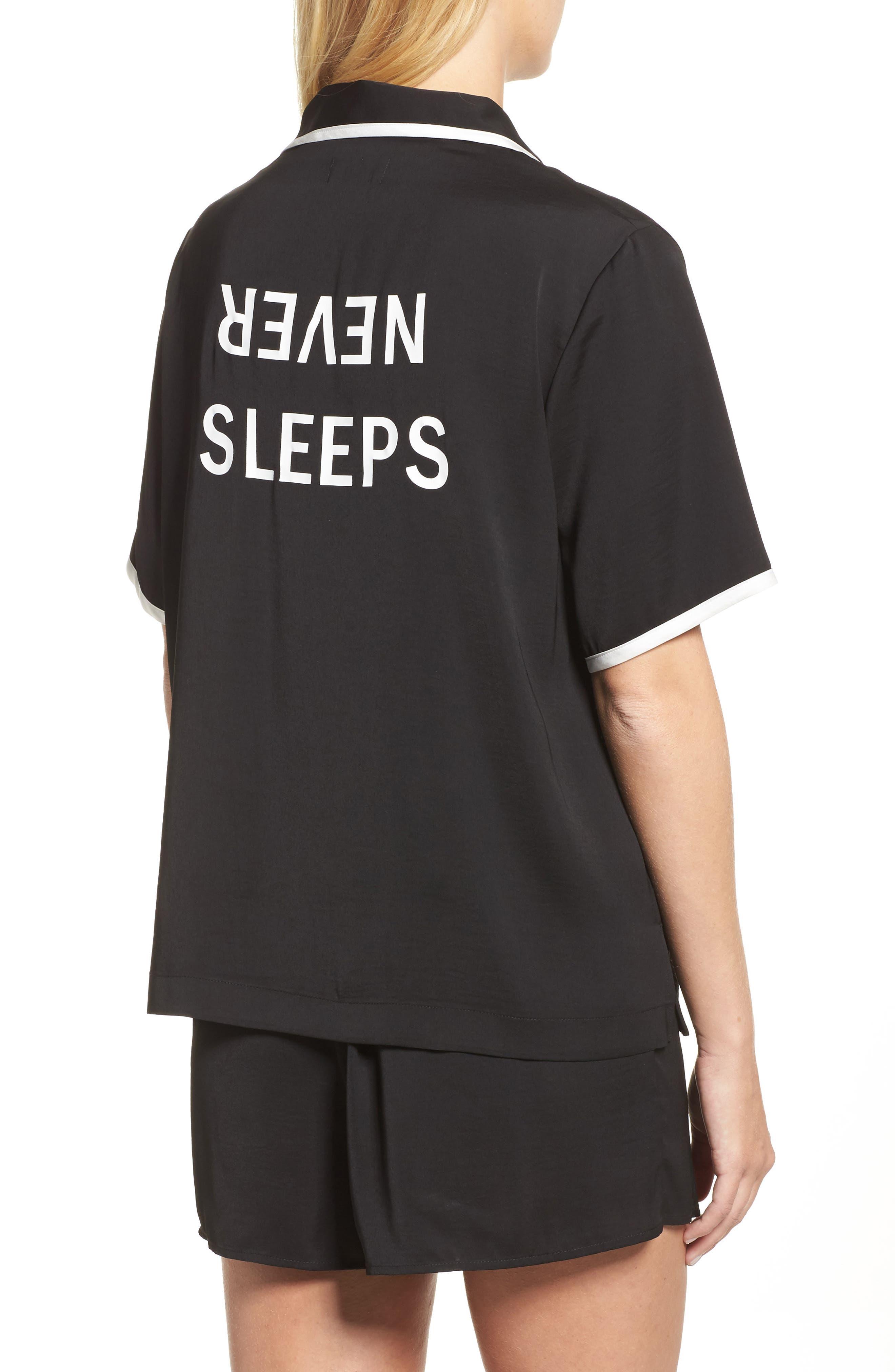 Alternate Image 2  - DKNY Washed Satin Short Pajamas & Eye Mask