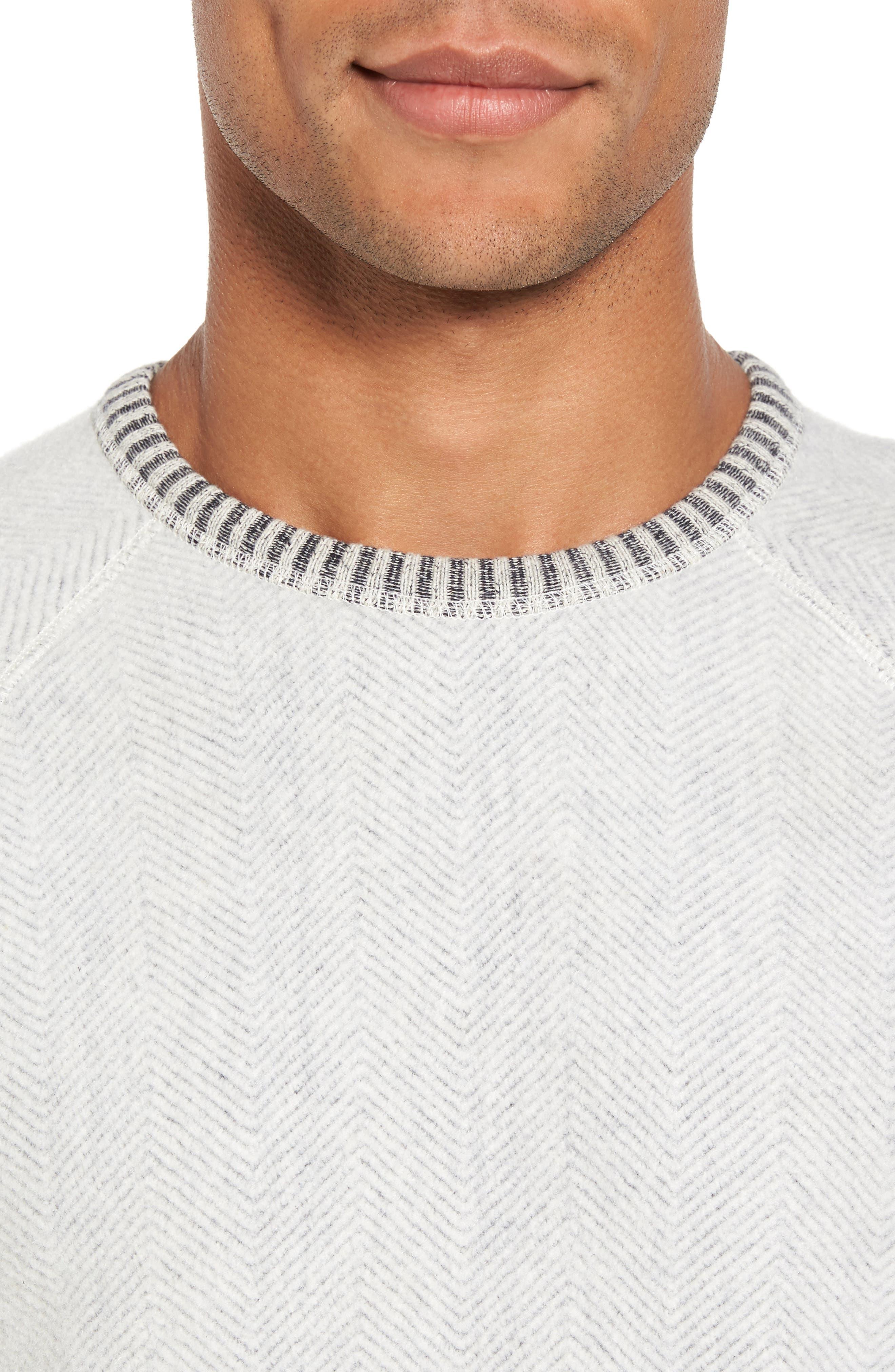Brushed Fleece Sweatshirt,                             Alternate thumbnail 4, color,                             Ivory Egret