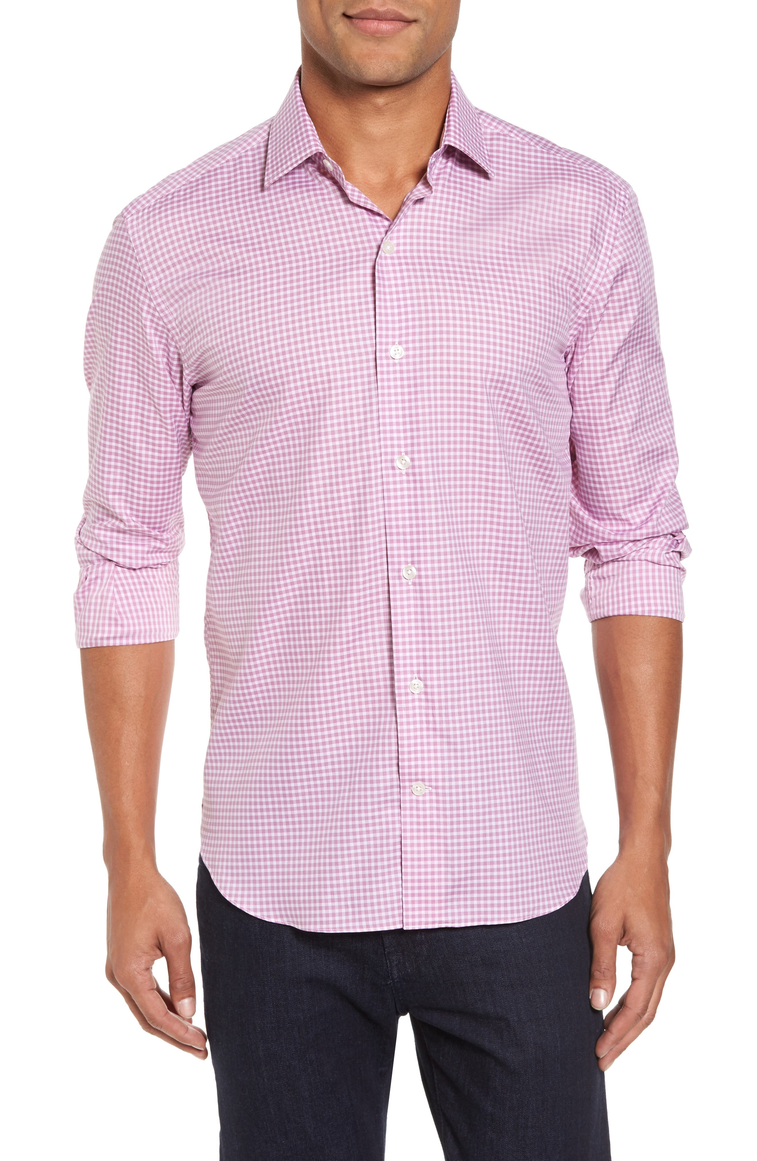 Slim Fit Check Twill Sport Shirt,                         Main,                         color, Pink