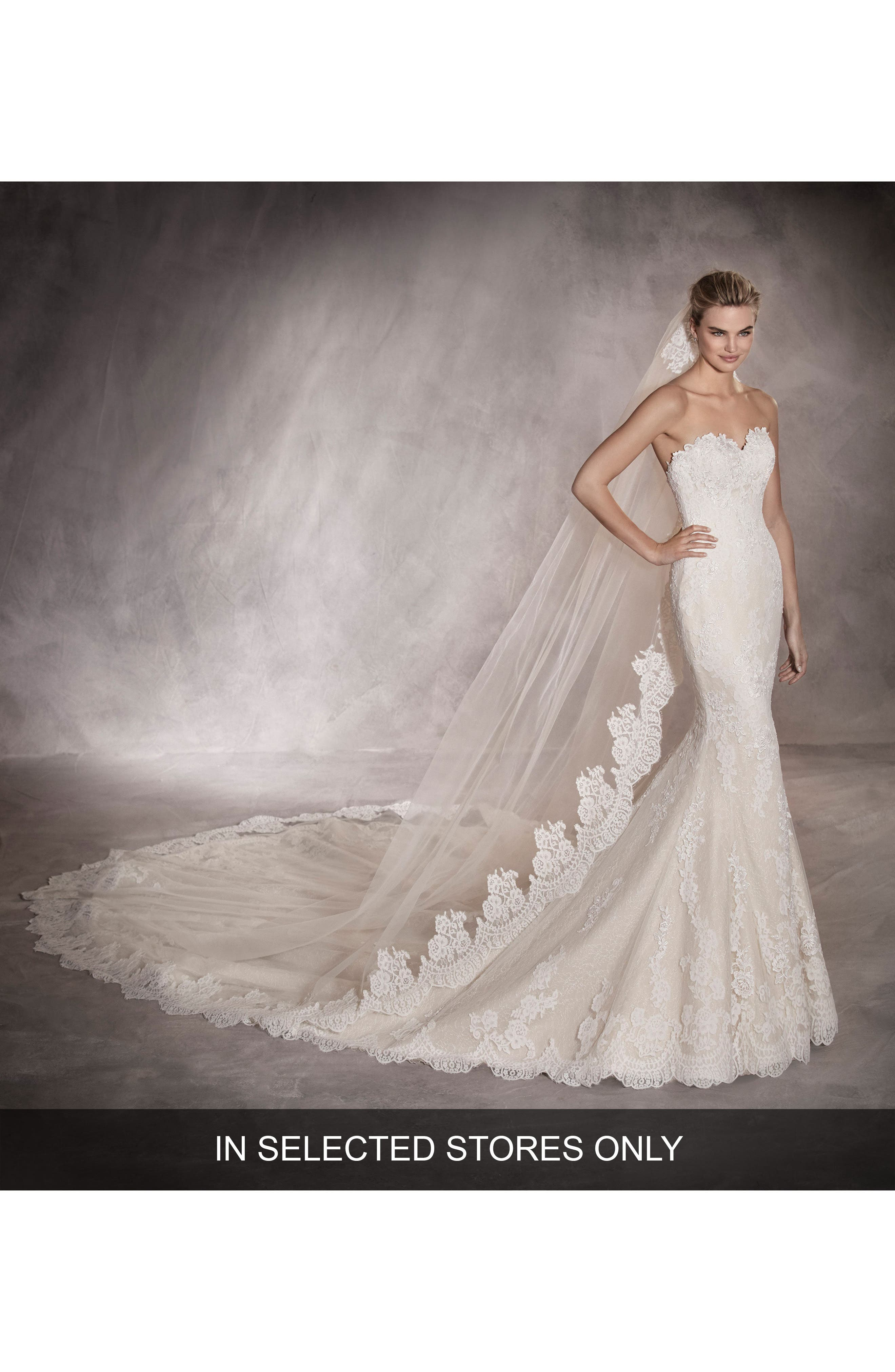 Princia Strapless Lace Mermaid Gown,                             Main thumbnail 1, color,                             Off White/ Dark Beige