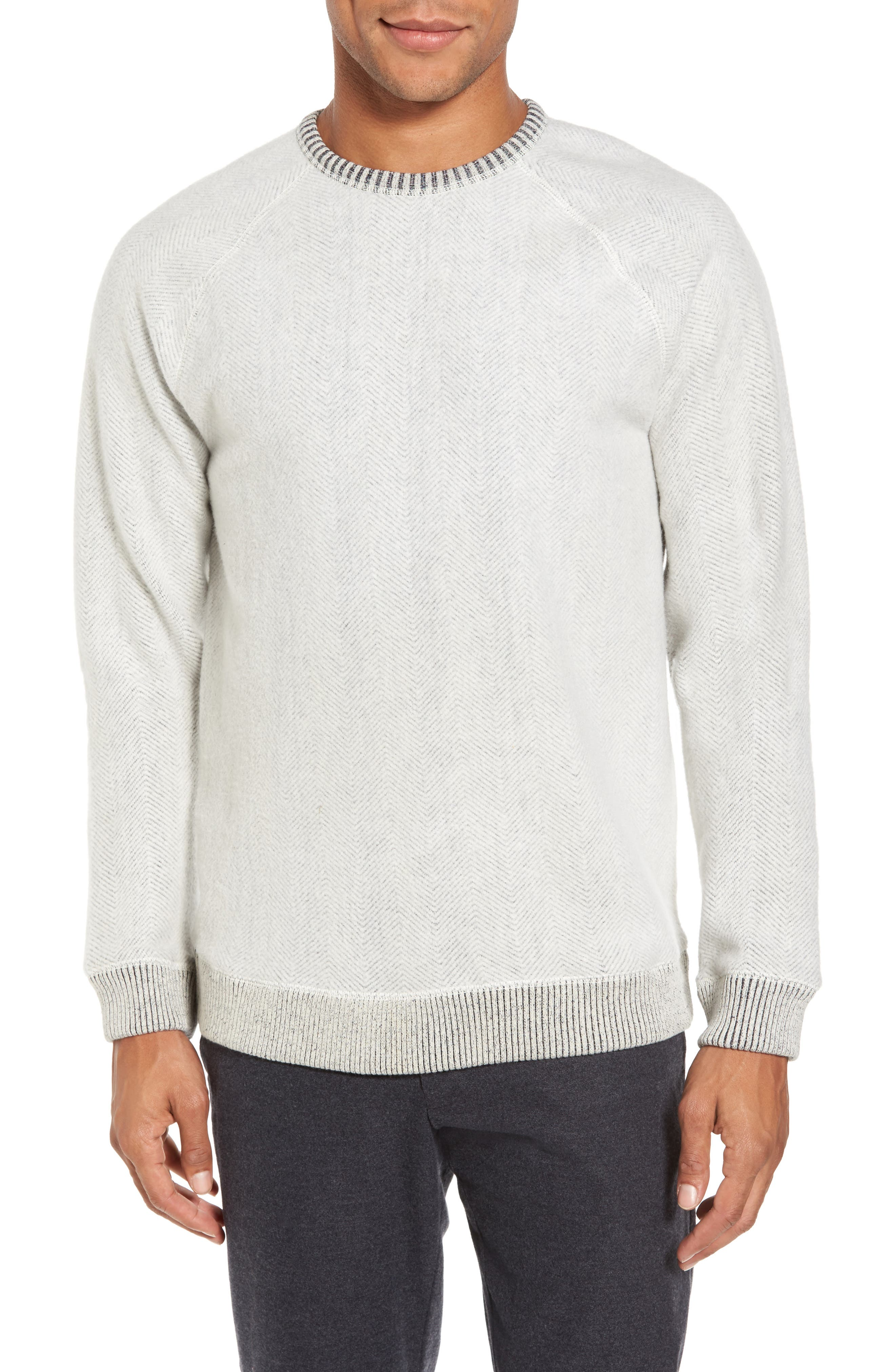 Brushed Fleece Sweatshirt,                         Main,                         color, Ivory Egret