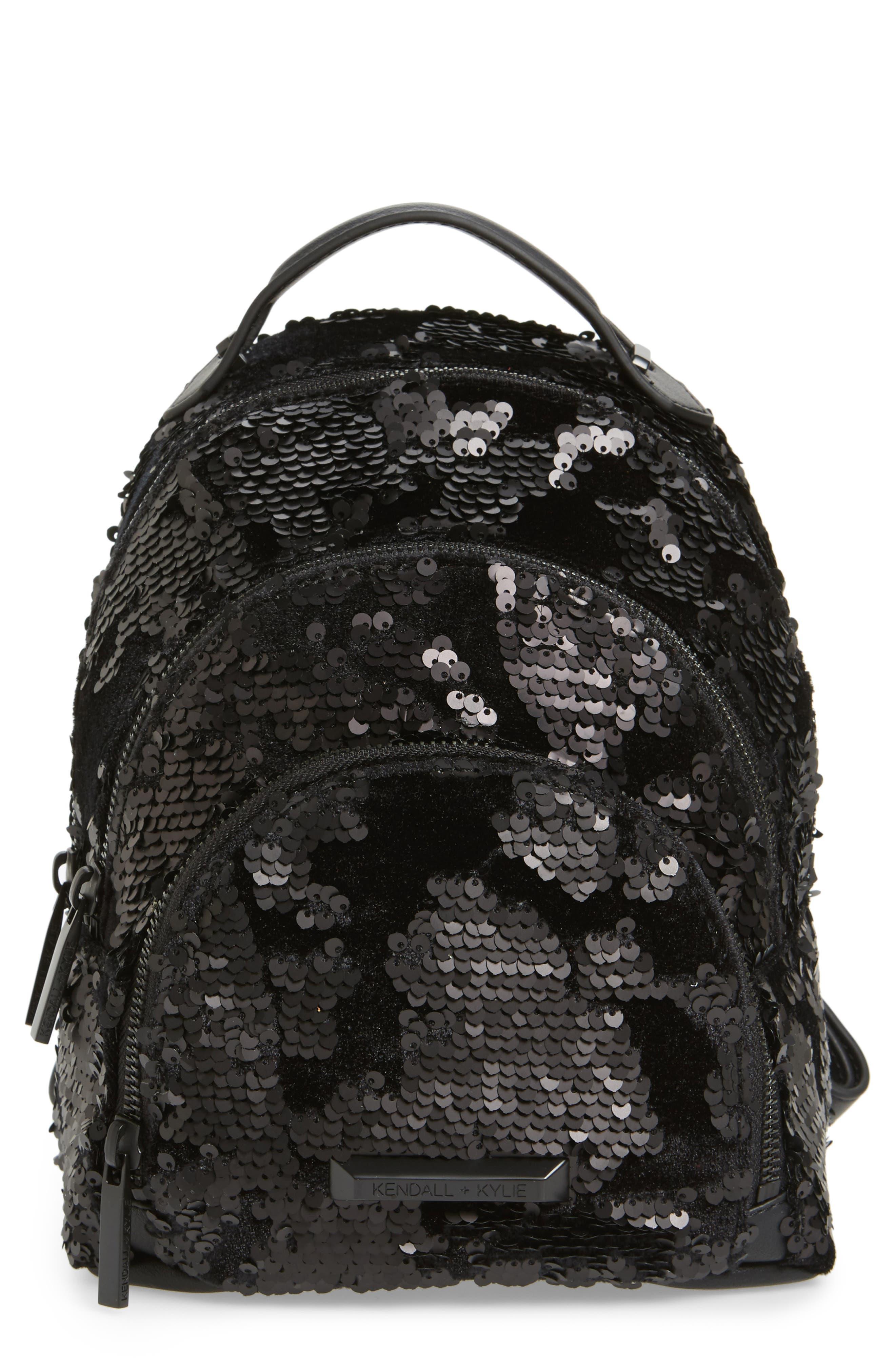 Mini Sloane Velvet & Sequin Backpack,                             Main thumbnail 1, color,                             Black Sequins