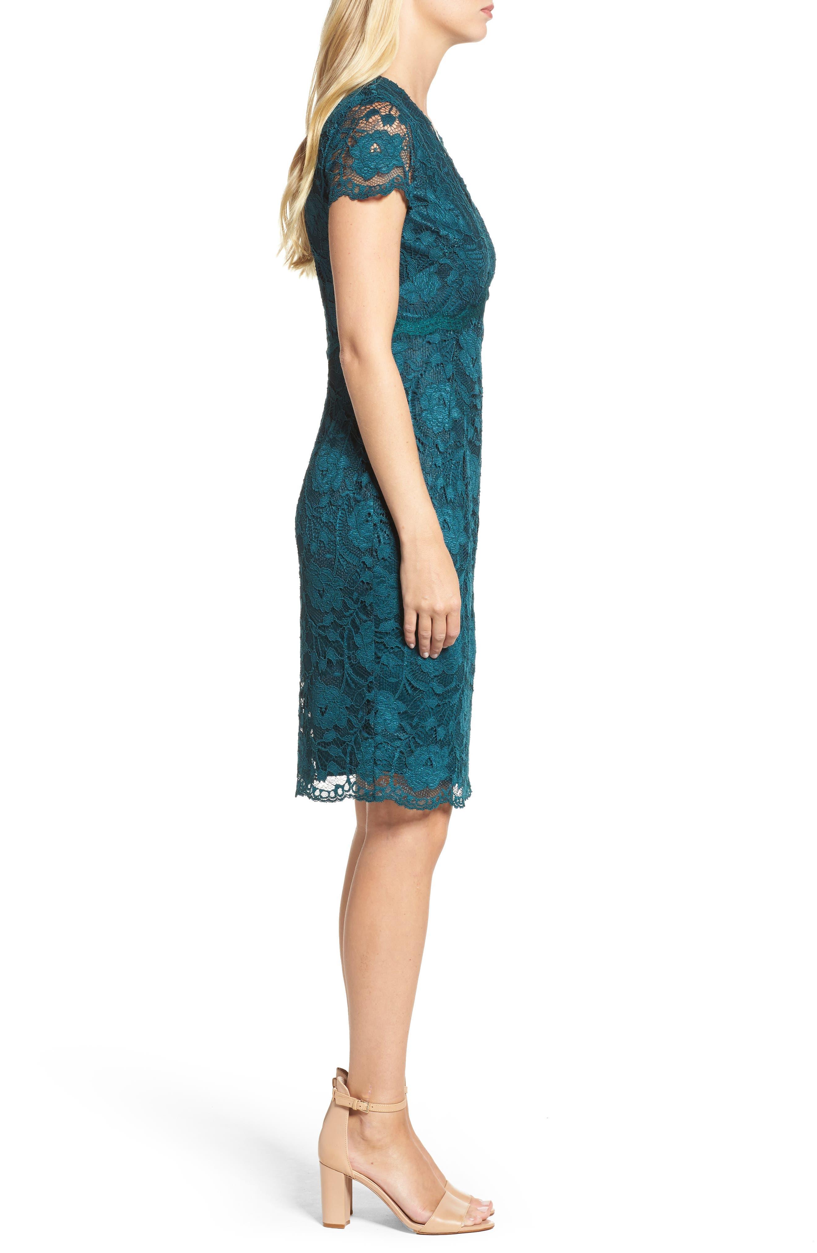 Lace Sheath Dress,                             Alternate thumbnail 3, color,                             Pine