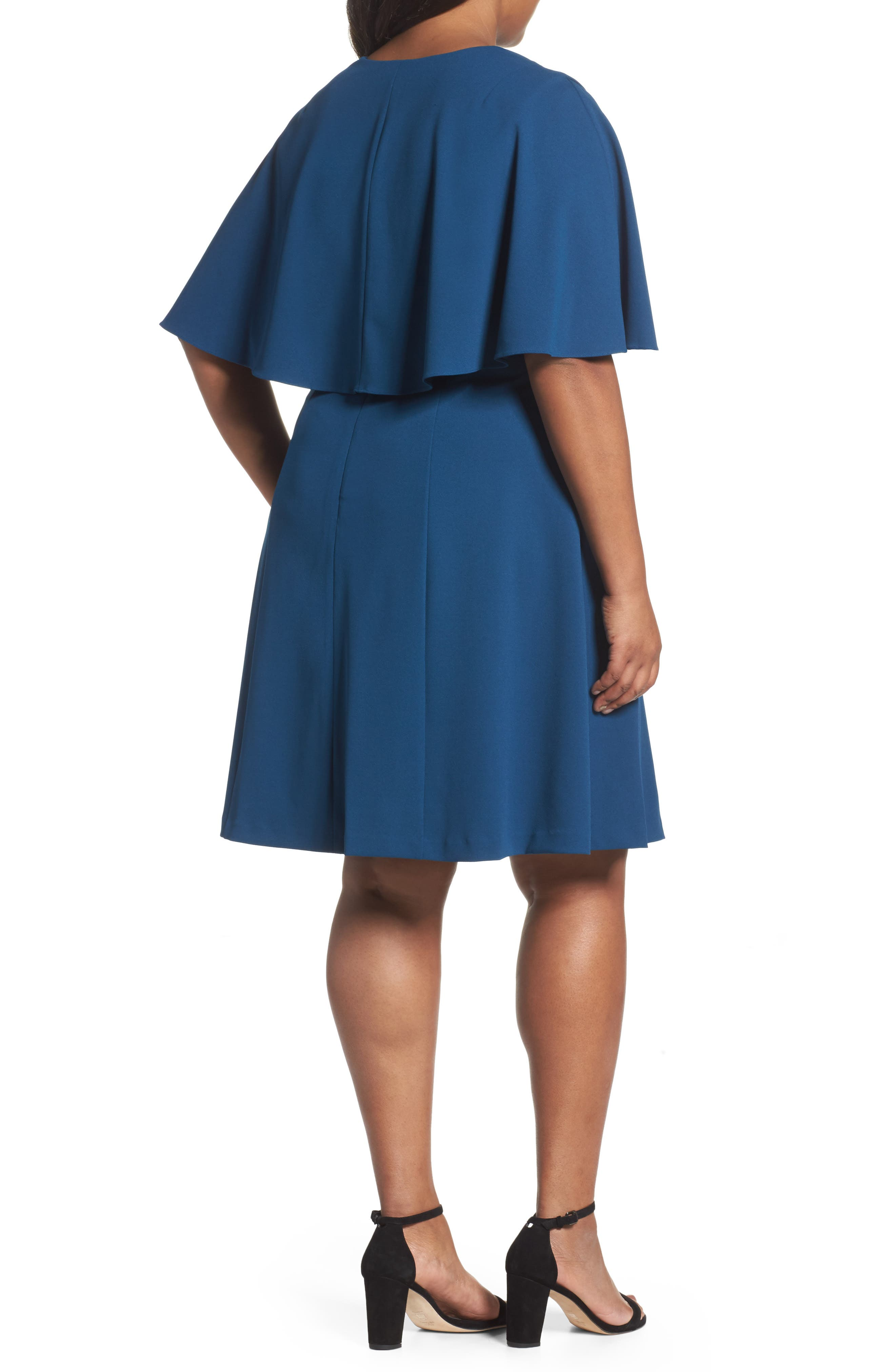 Alternate Image 2  - Adrianna Papell Capelet A-Line Dress (Plus Size)