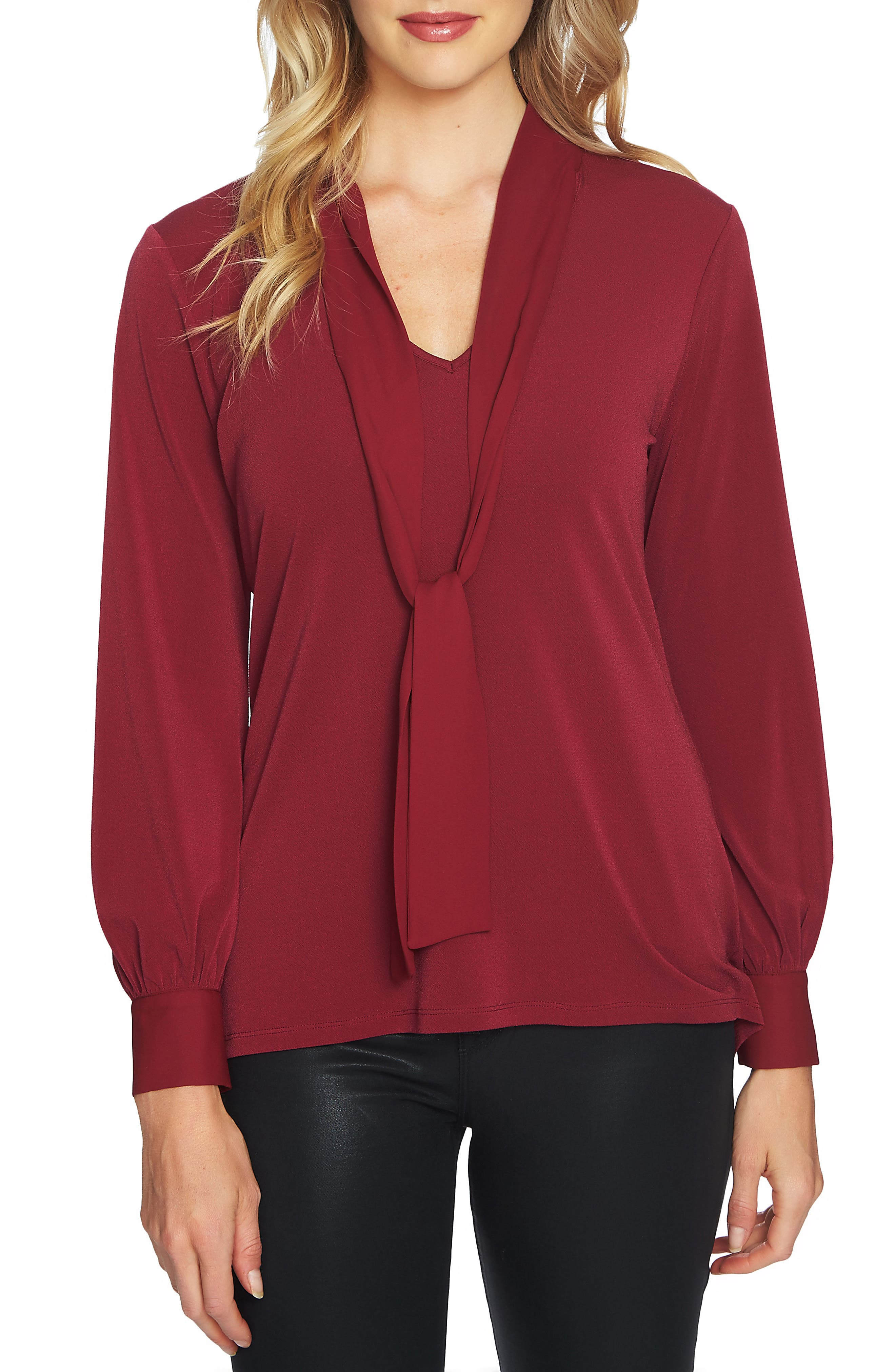 Alternate Image 1 Selected - CeCe Chiffon Tie Neck Knit Top