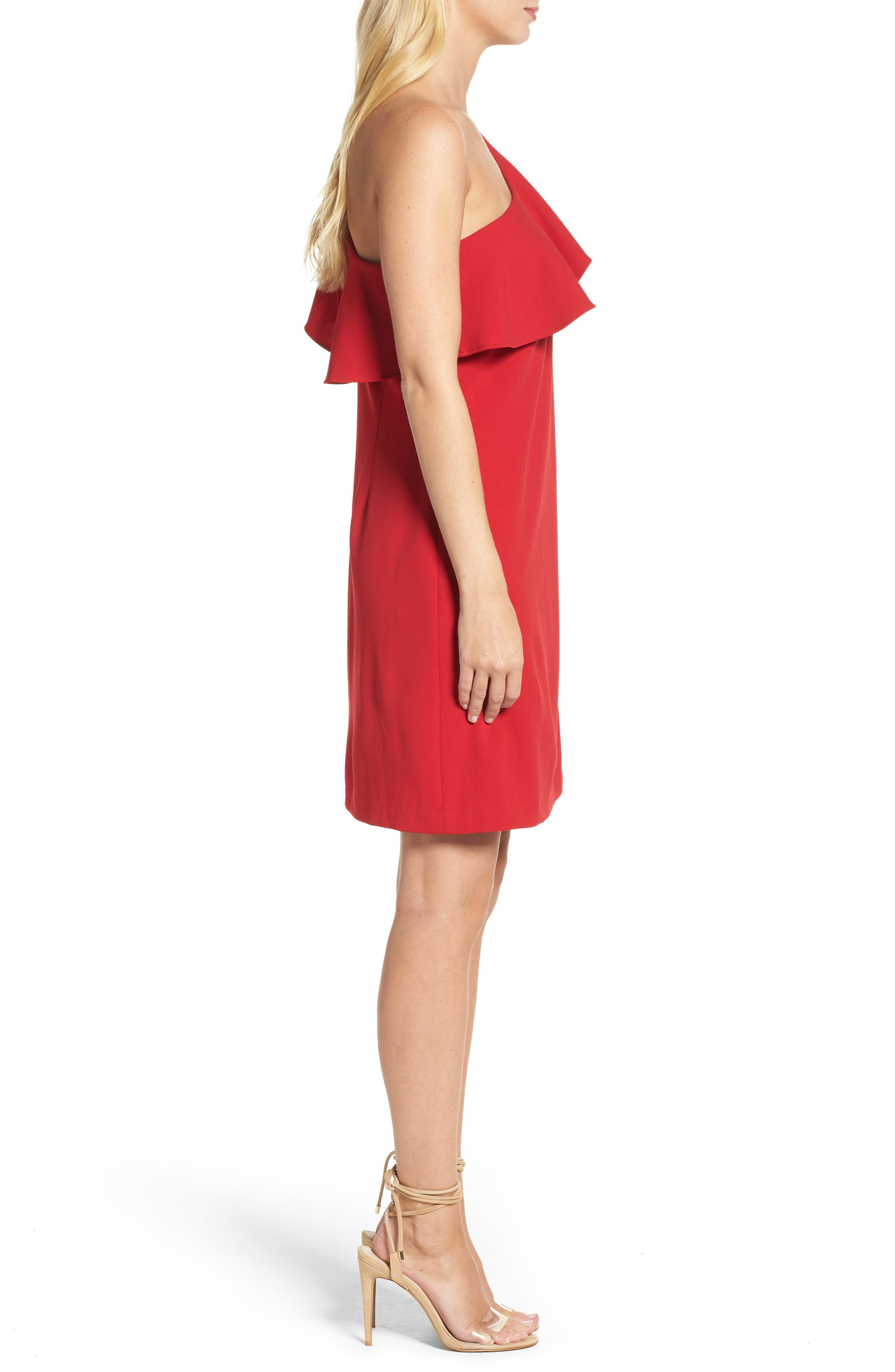 Ruffle One-Shoulder Shift Dress,                             Alternate thumbnail 3, color,                             Red