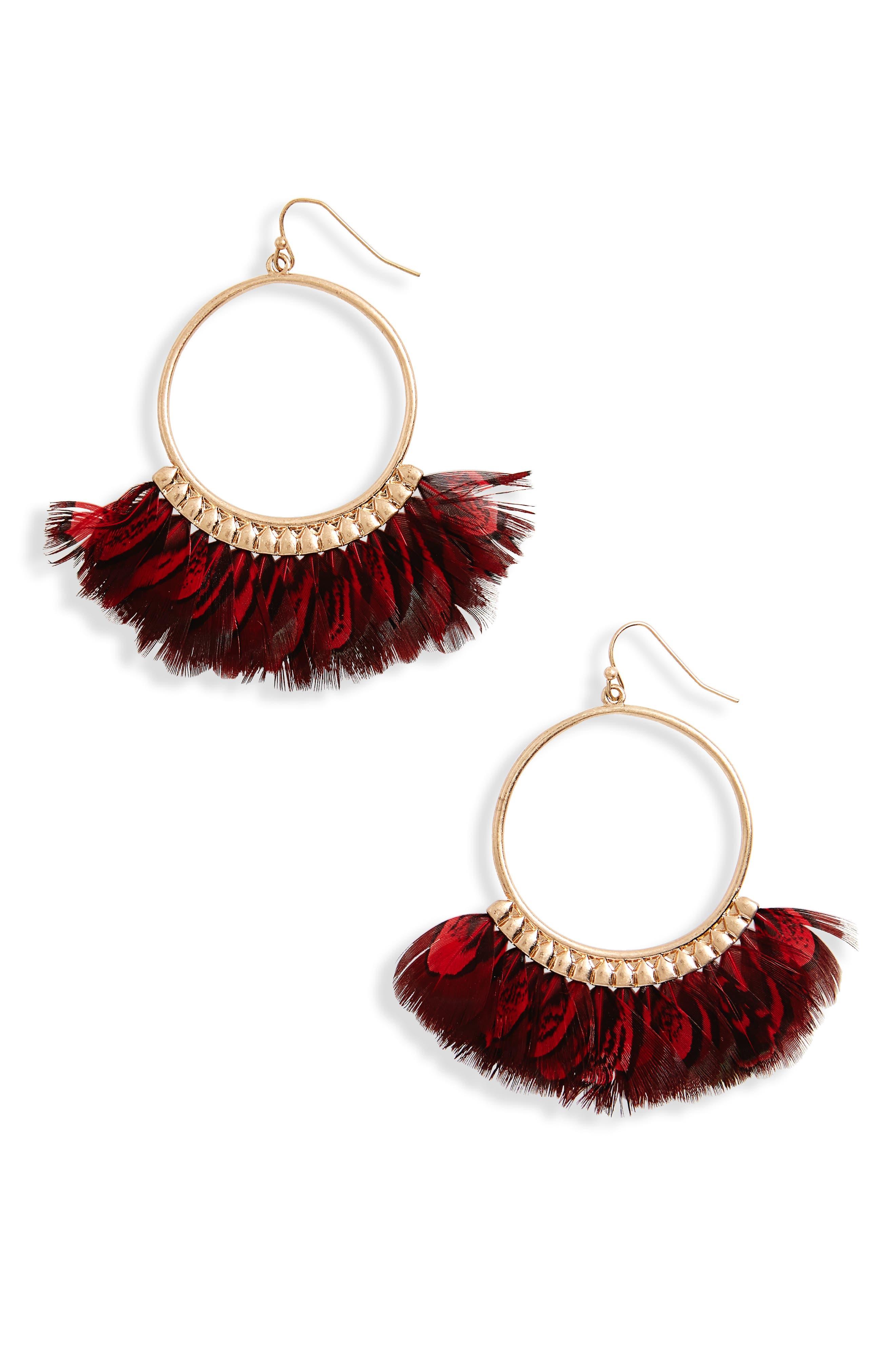 Canvas Feather Hoop Earrings