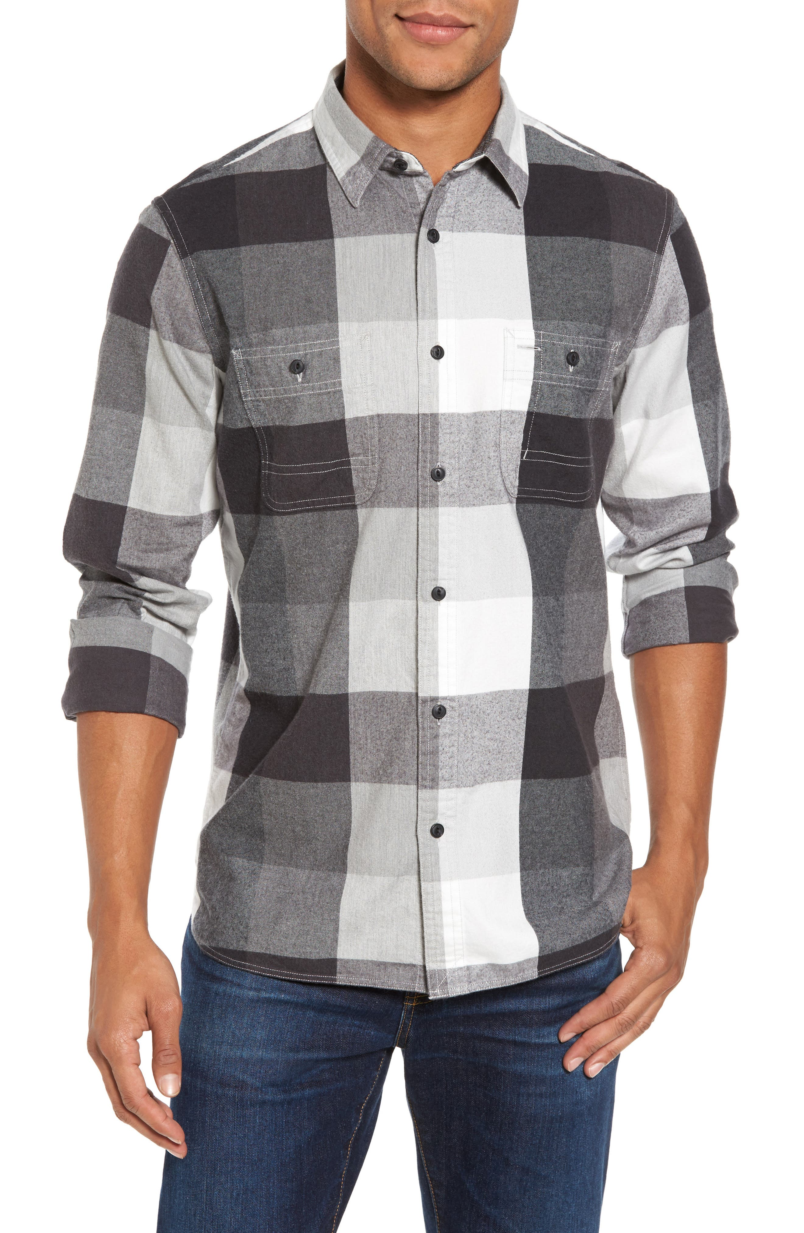 Trim Fit Workwear Check Flannel Shirt,                         Main,                         color, Grey Paloma Buffalo Plaid
