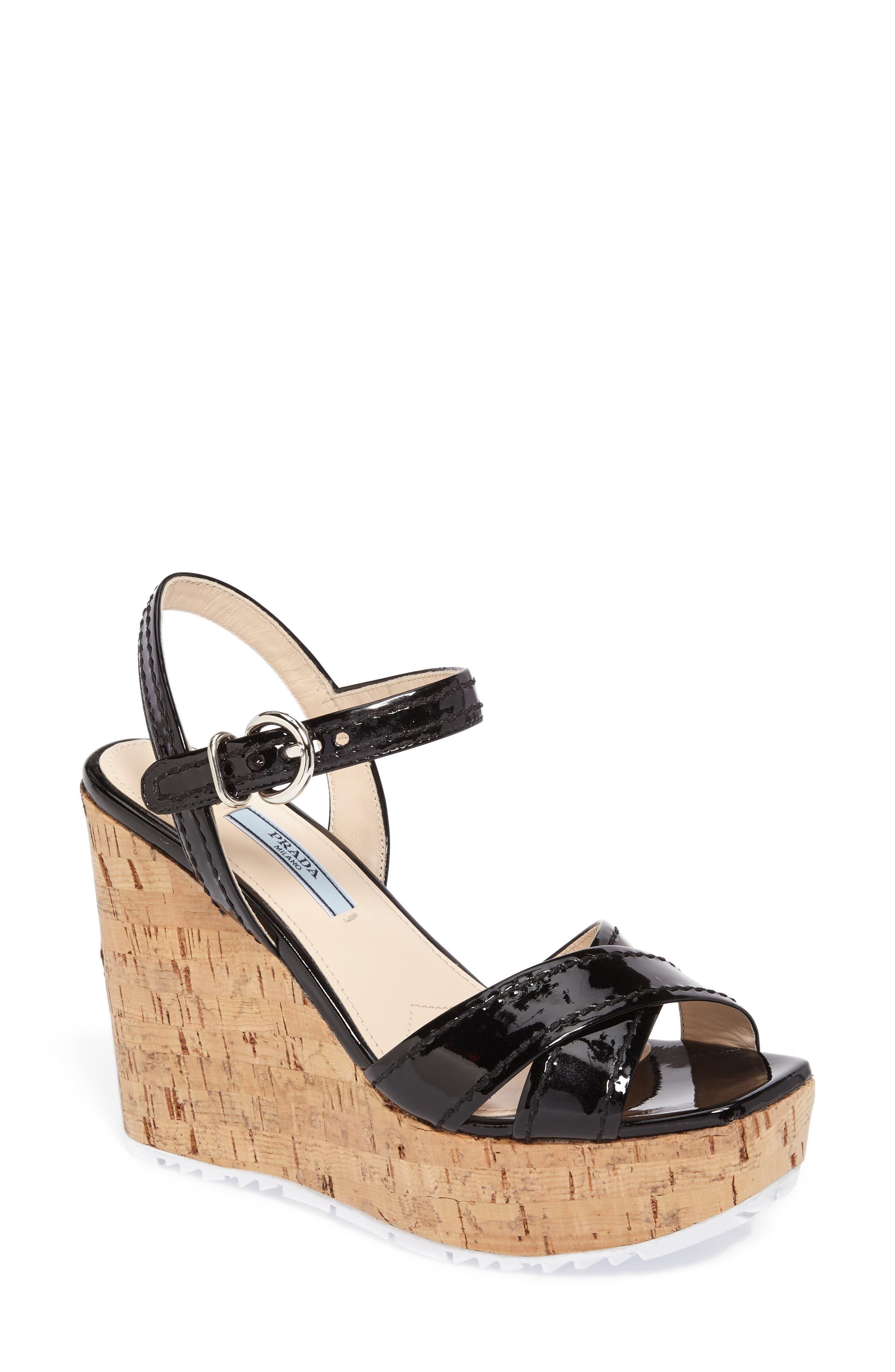 Cork Wedge Sandal,                         Main,                         color, Black