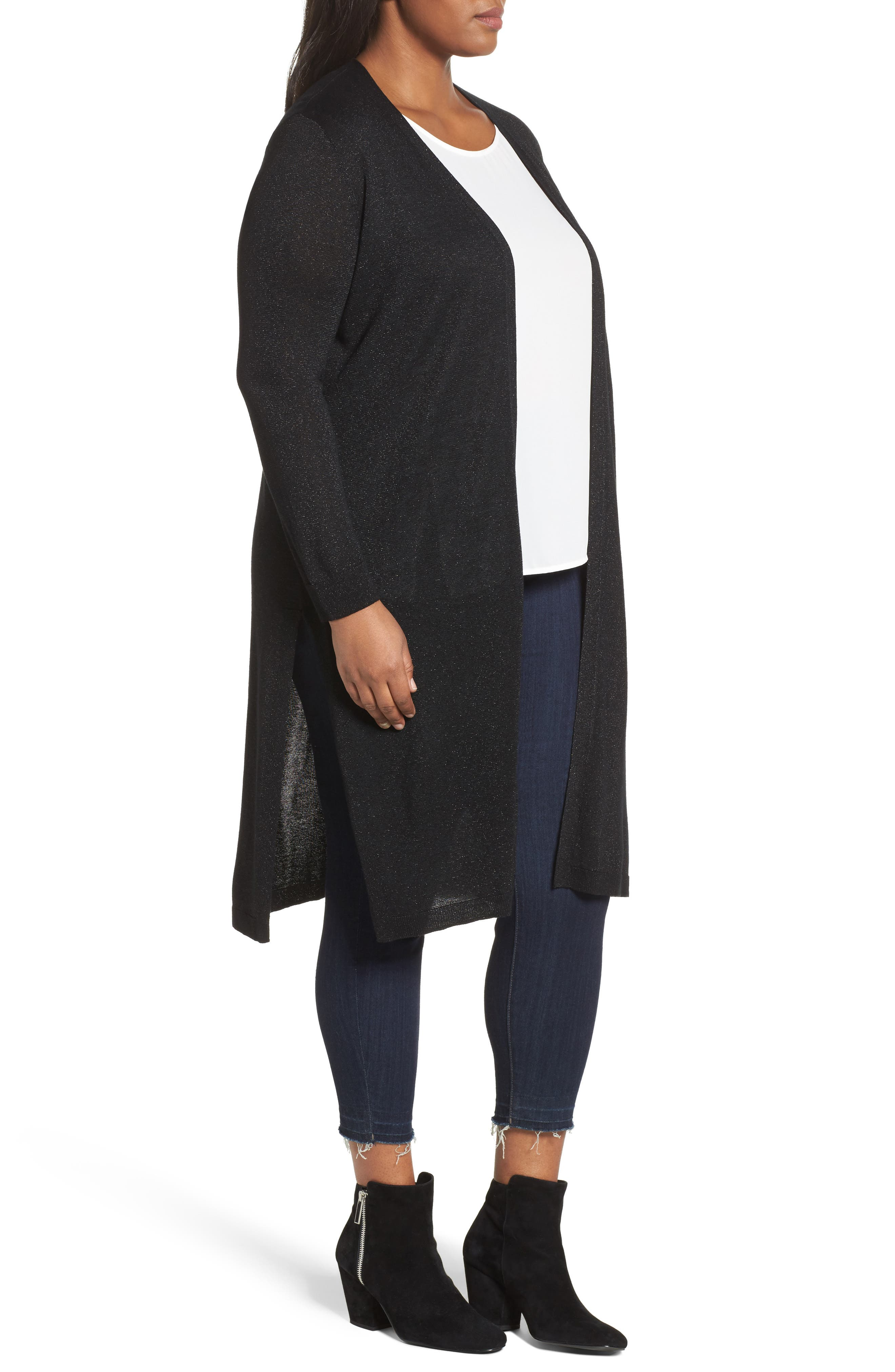 Metallic Maxi Cardigan,                             Alternate thumbnail 3, color,                             Rich Black