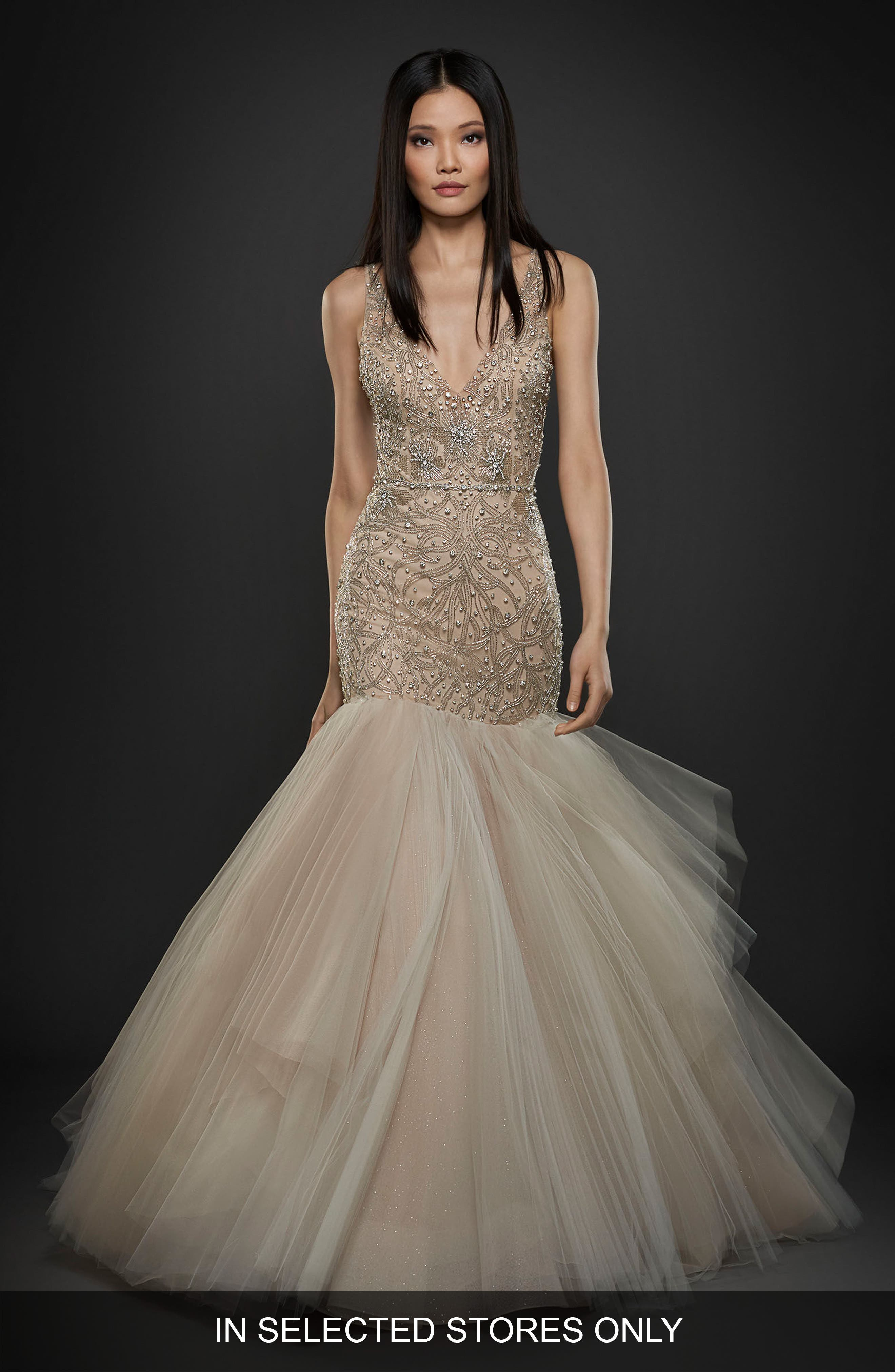 Embellished Trumpet Gown,                         Main,                         color, Ivory/ Cashmere